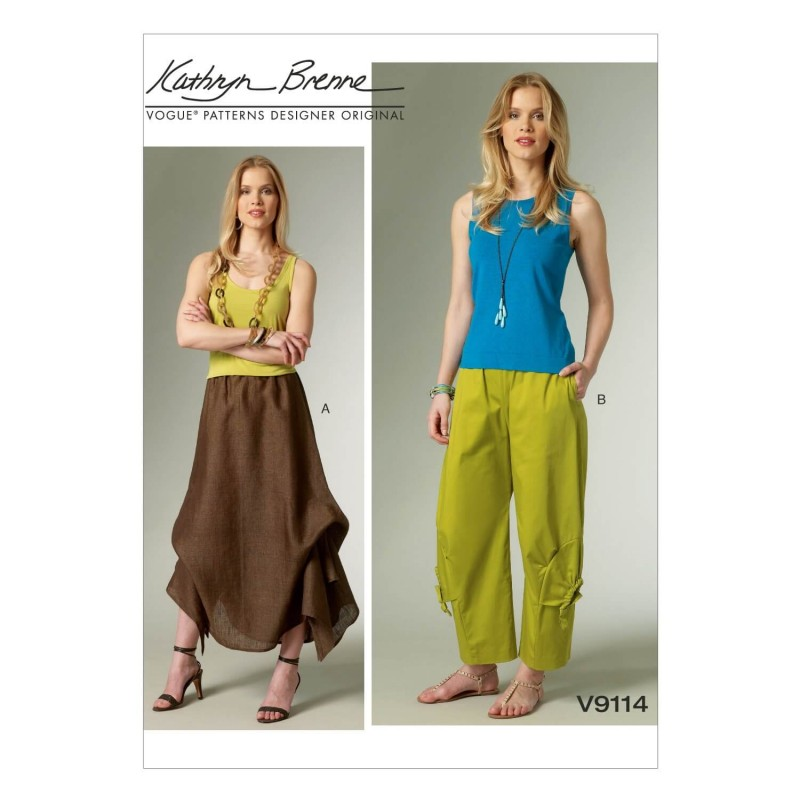 Vogue Sewing Pattern V9114 Women's Skirt And Straight Leg Trousers