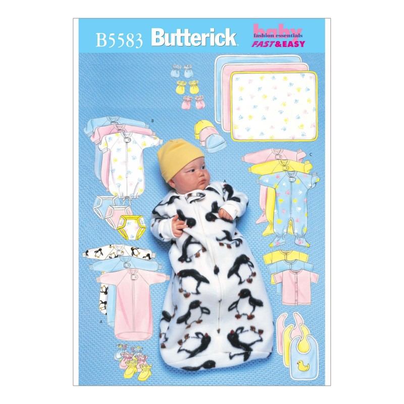 Butterick Sewing Pattern 5583 Babies Jumpsuit Shirt Hat Mittens Bib & Booties