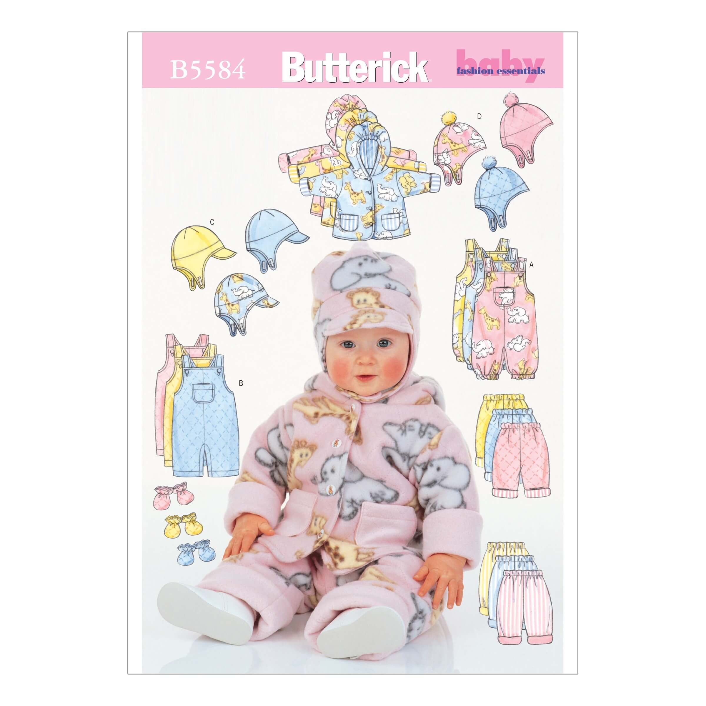 Butterick Sewing Pattern 5584 Babies Jacket Overalls Trousers Hat & MIttens