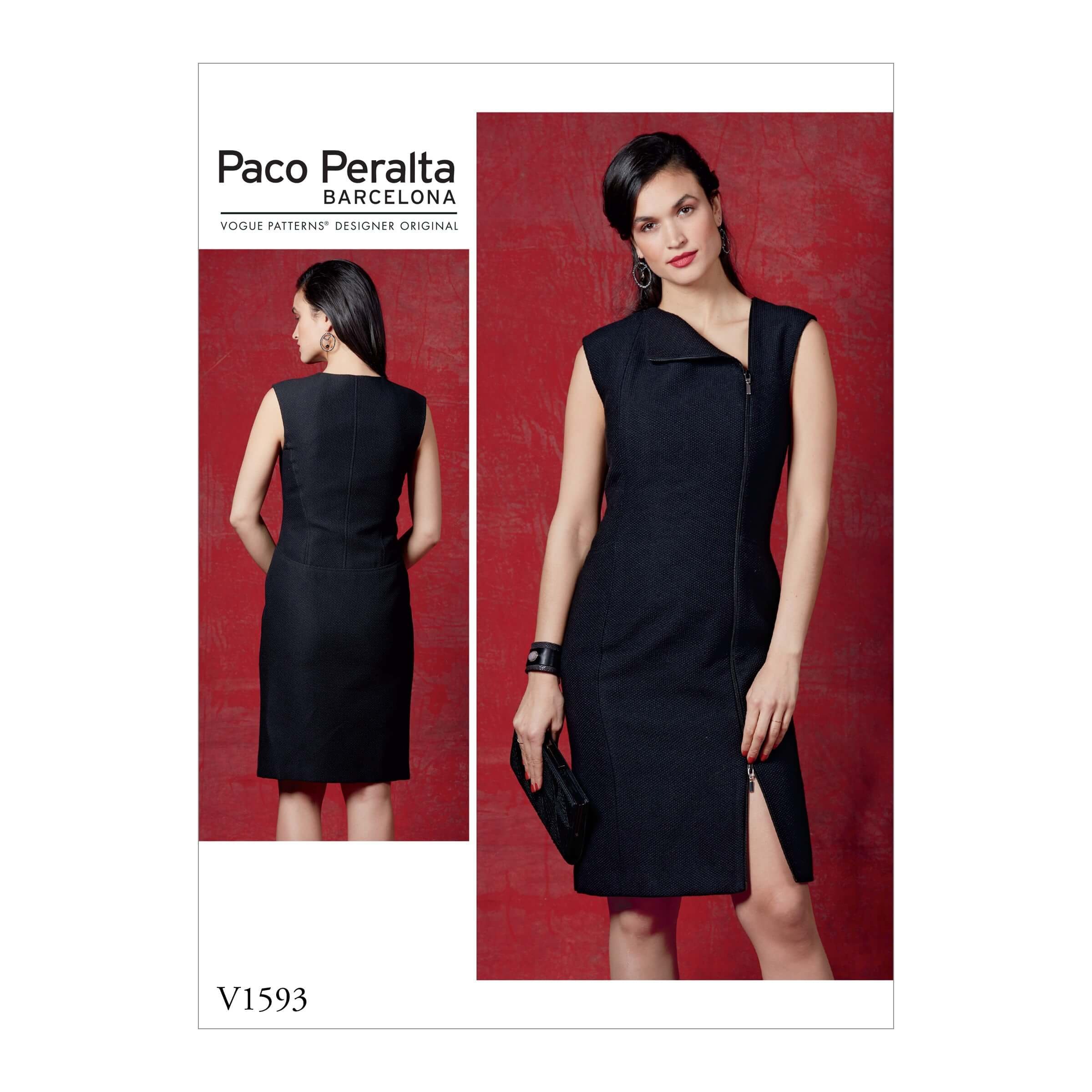 Vogue Sewing Pattern V1593 Women's Fitted Dress with Two Way Zipper