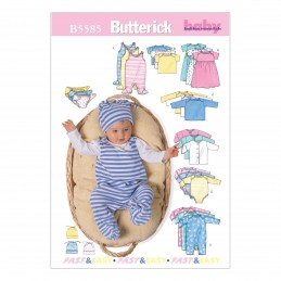 Butterick Sewing Pattern 5585 Babies Jacket Dress Romper Top & Hat