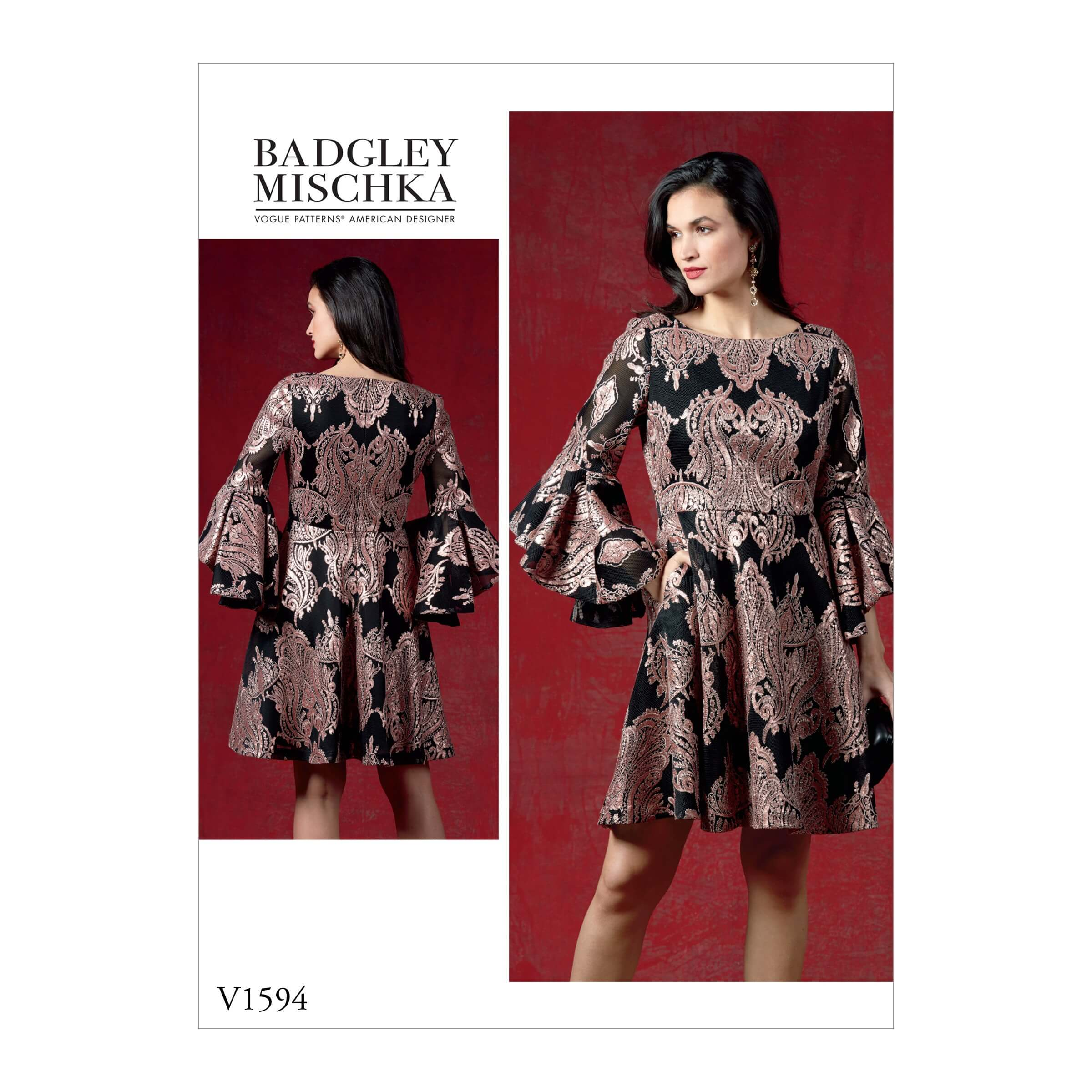 Vogue Sewing Pattern V1594 Women's Flared Dress with Flounce Sleeves