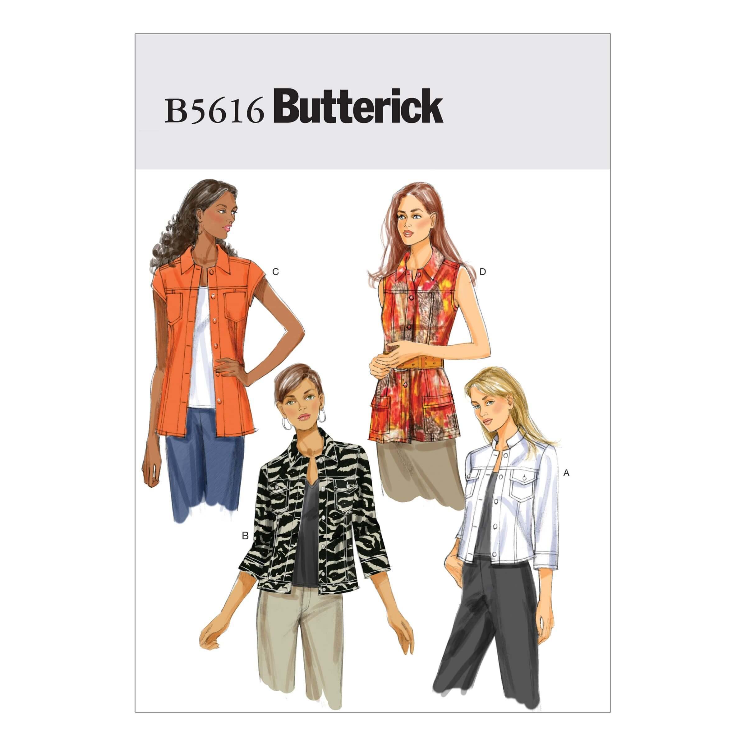 Butterick Sewing Pattern 5616 Misses' Fashion Jacket Coat Long & Short Sleeve