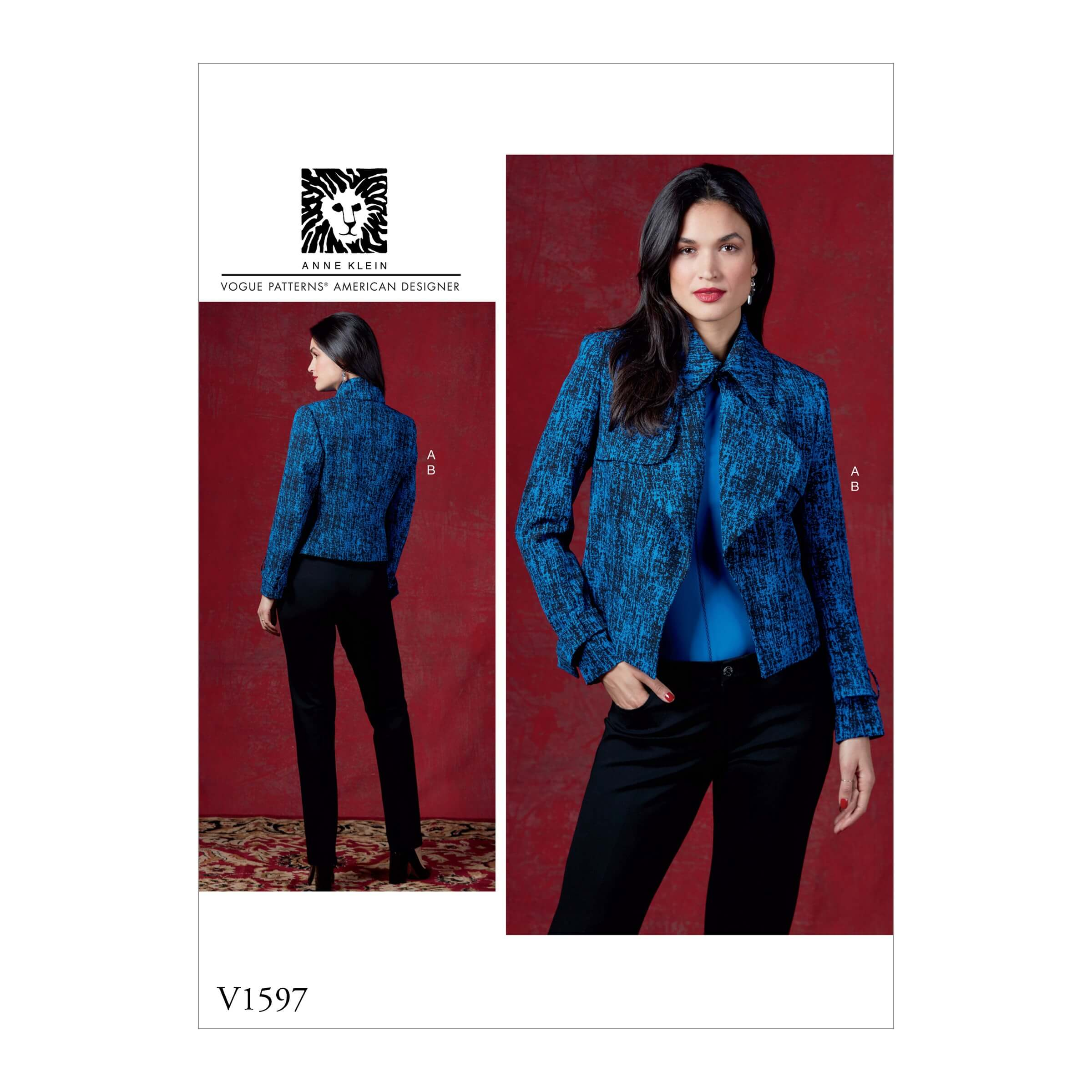 Vogue Sewing Pattern V1597 Women's Jacket with Oversized Collar and Trousers