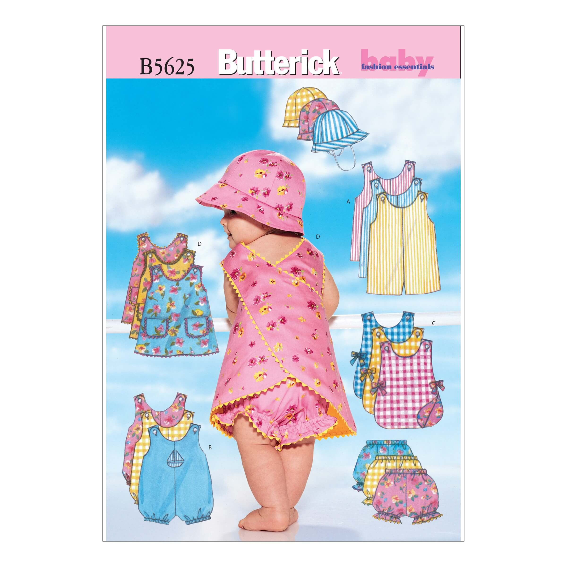 Butterick Sewing Pattern 5625 Babies Romper Jumper Pants & Hat
