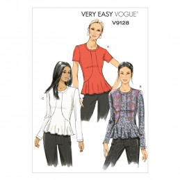 Vogue Sewing Pattern V9128 Women's Peplum Pull Over Top