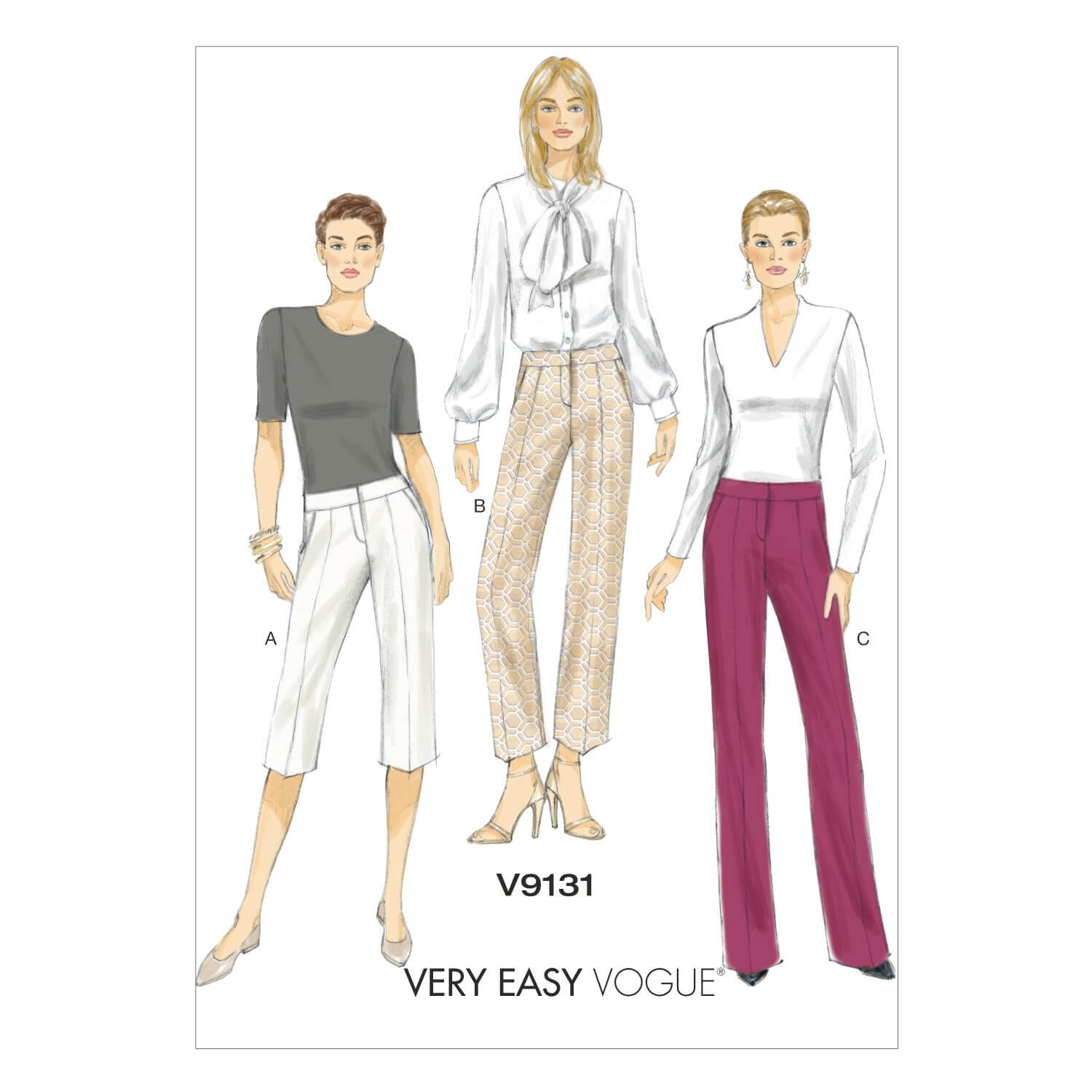 Vogue Sewing Pattern V9131 Women's Shorts And Trouser Contour Waistband Pants