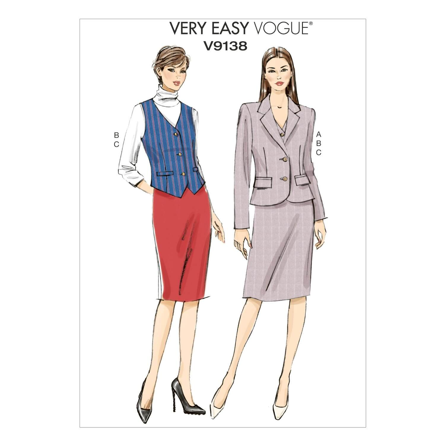 Vogue Sewing Pattern V9138 Women's Semi-Fitted Jacket Vest And Skirt