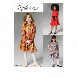 Vogue Sewing Pattern V9141 Children's Collared Dress And Belt