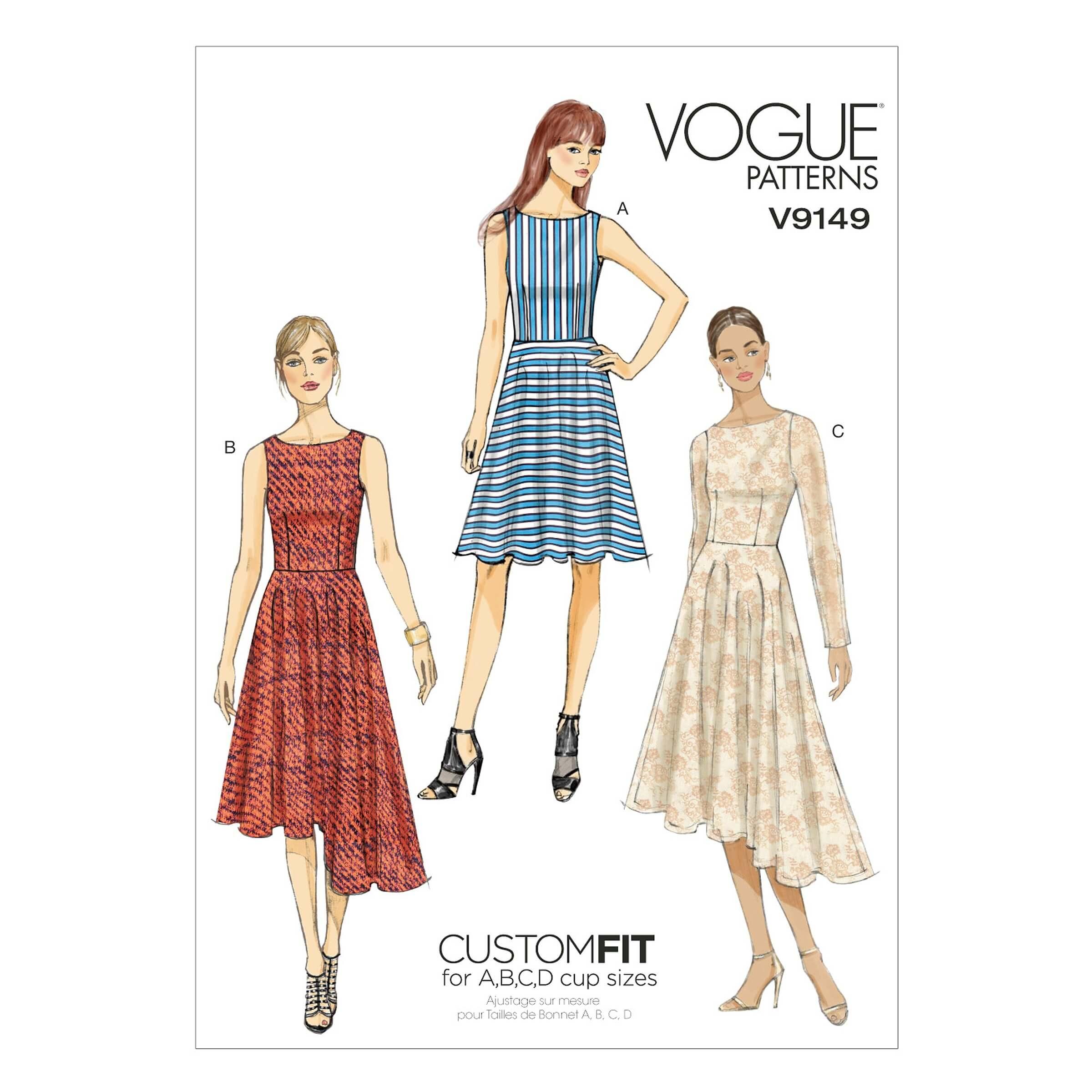 Vogue Sewing Pattern V9149 Women's Evening Wear Dress Flared Skirt