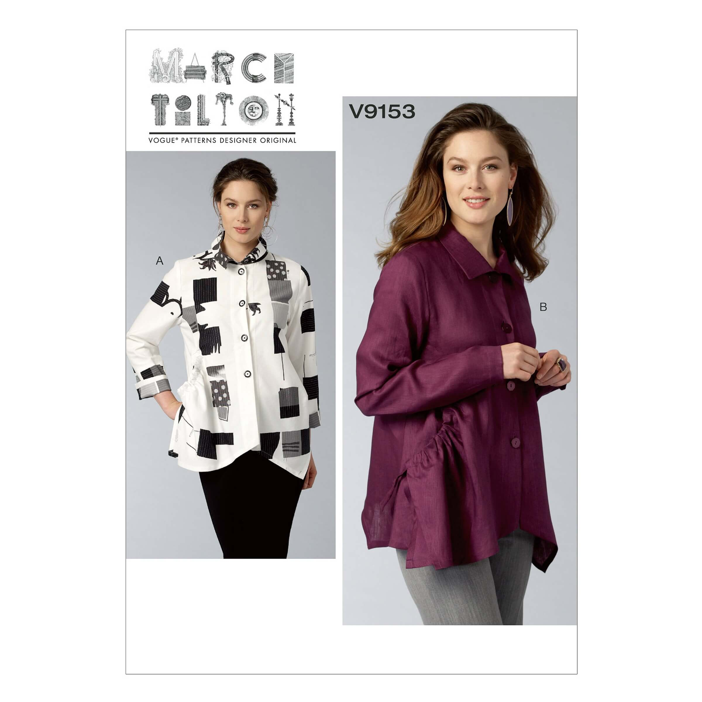 Vogue Sewing Pattern V9153 Women's Loose Fitting Button Down Shirt