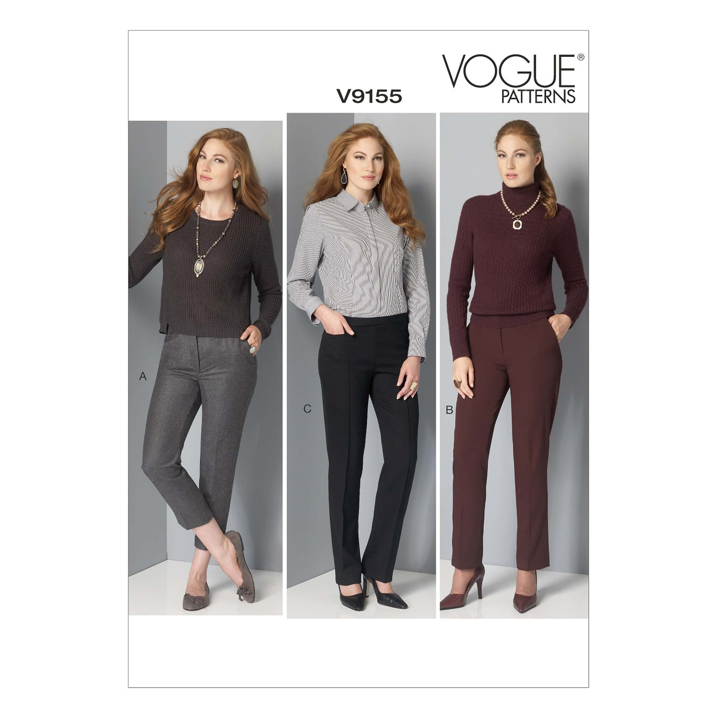 Vogue Sewing Pattern V9155 Women's Cigarette Petite Smart Trousers Pants