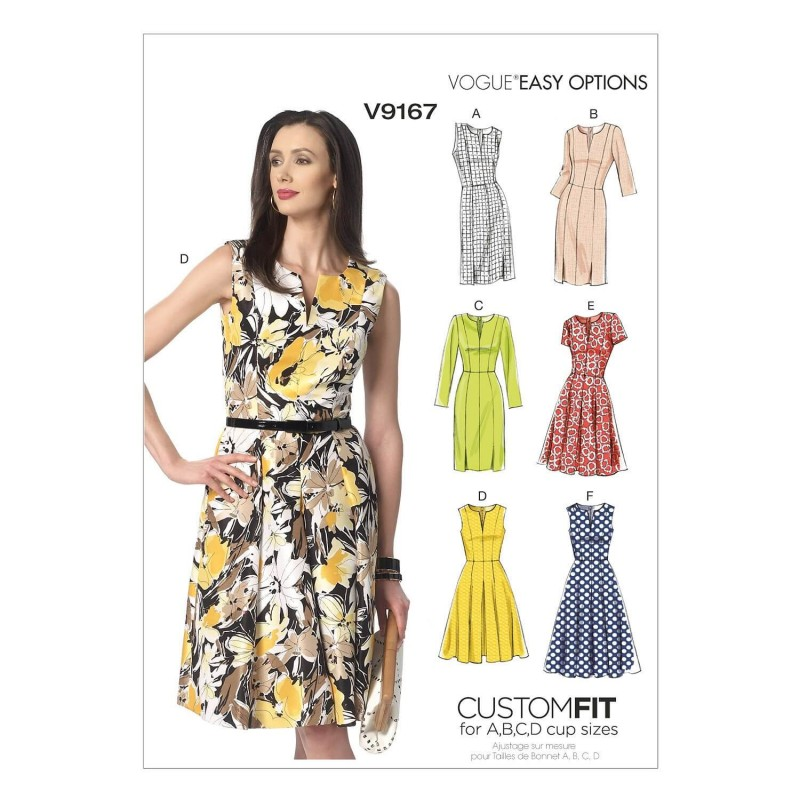 Vogue Sewing Pattern V9167 Women's Notch-Neck Princess-Seam Dress