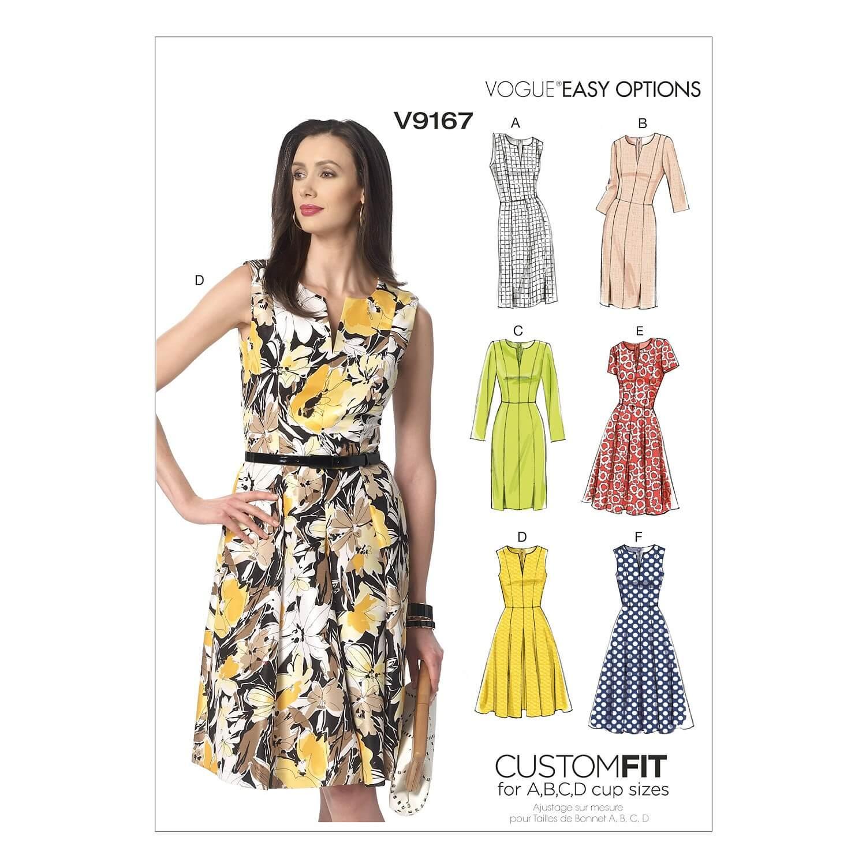 Vogue Sewing Pattern V9167 Women's Notch-Neck Princess-Seam Dress