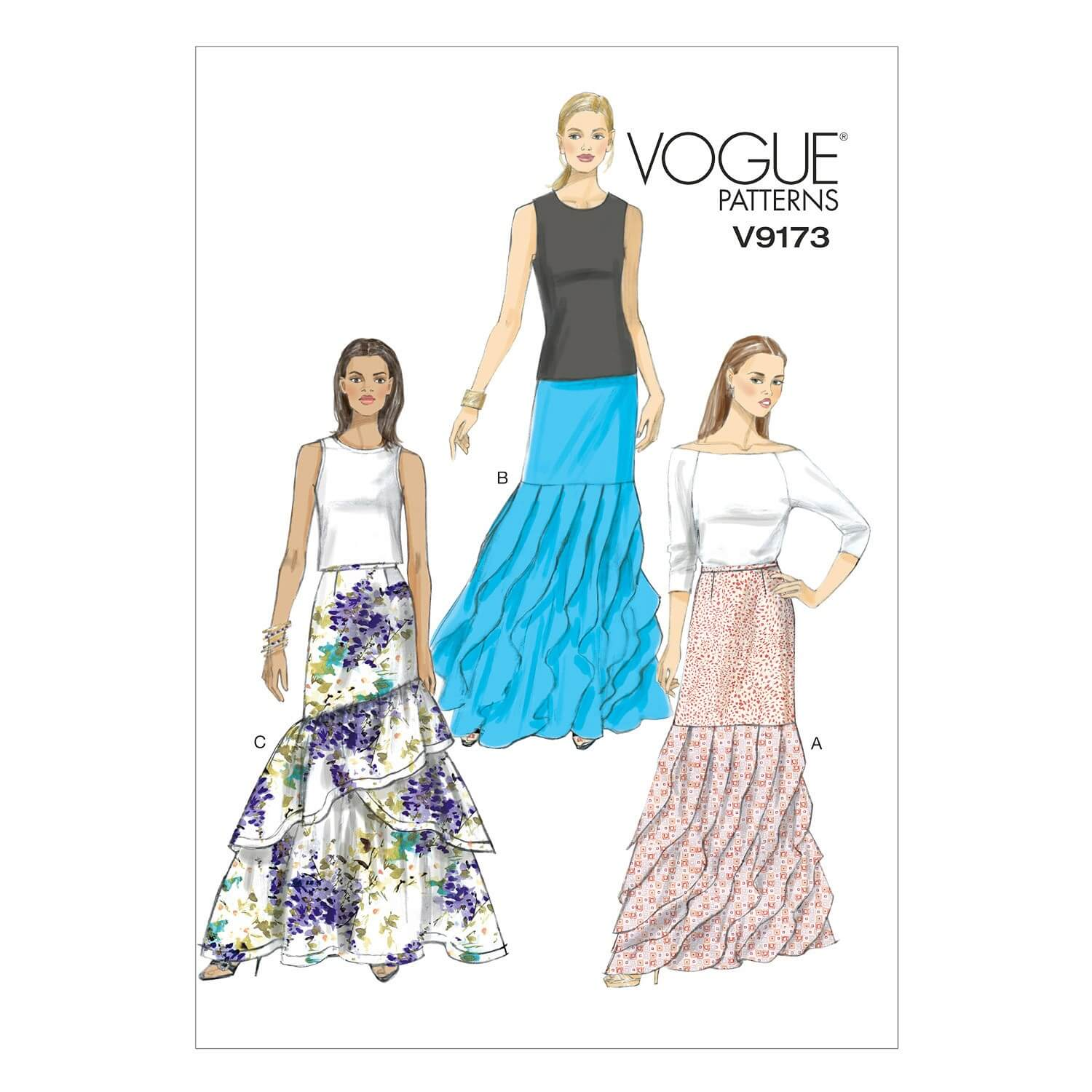 Vogue Sewing Pattern V9173 Women's Floor Length Tiered Skirts