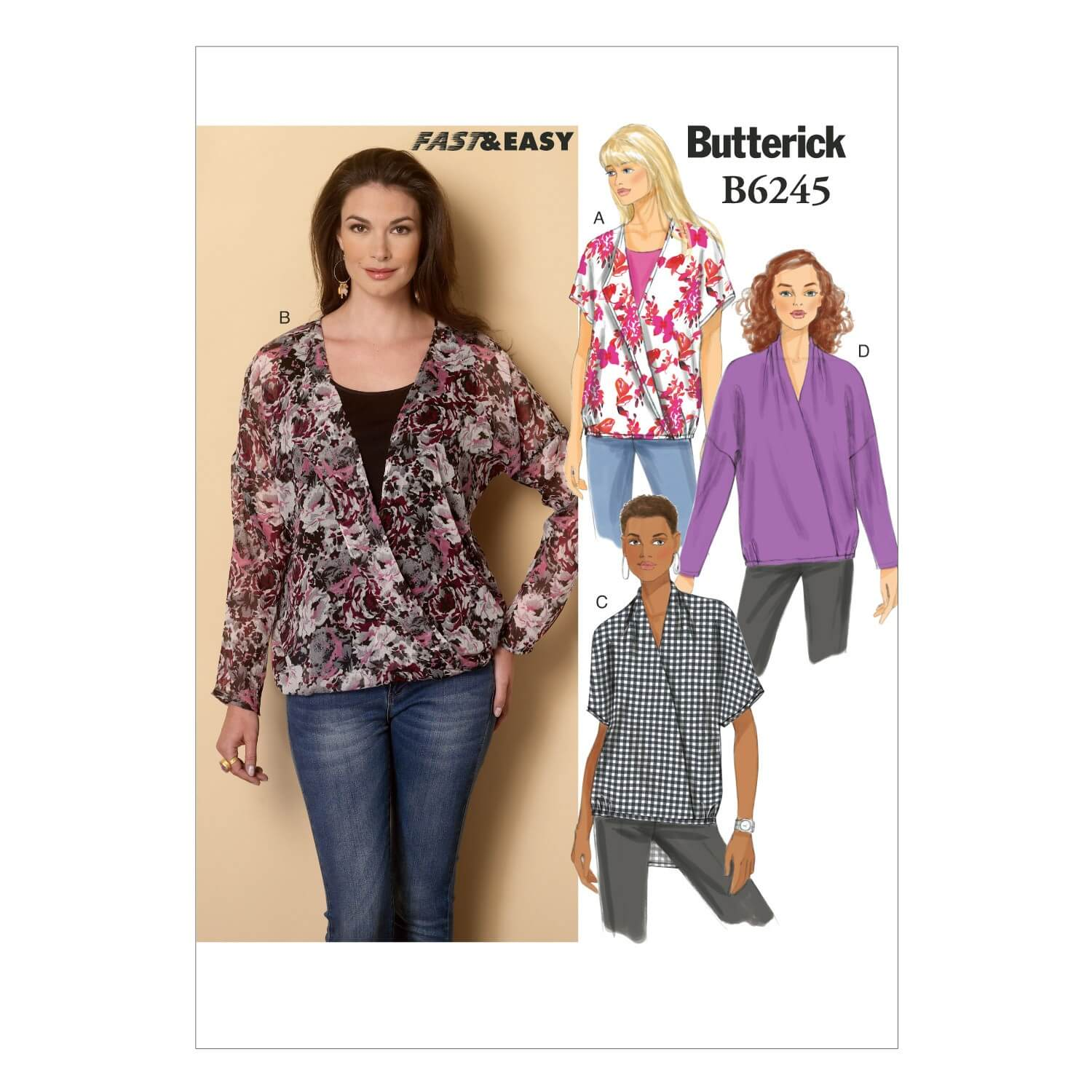 Butterick Sewing Pattern 6245 Misses' Pullover top