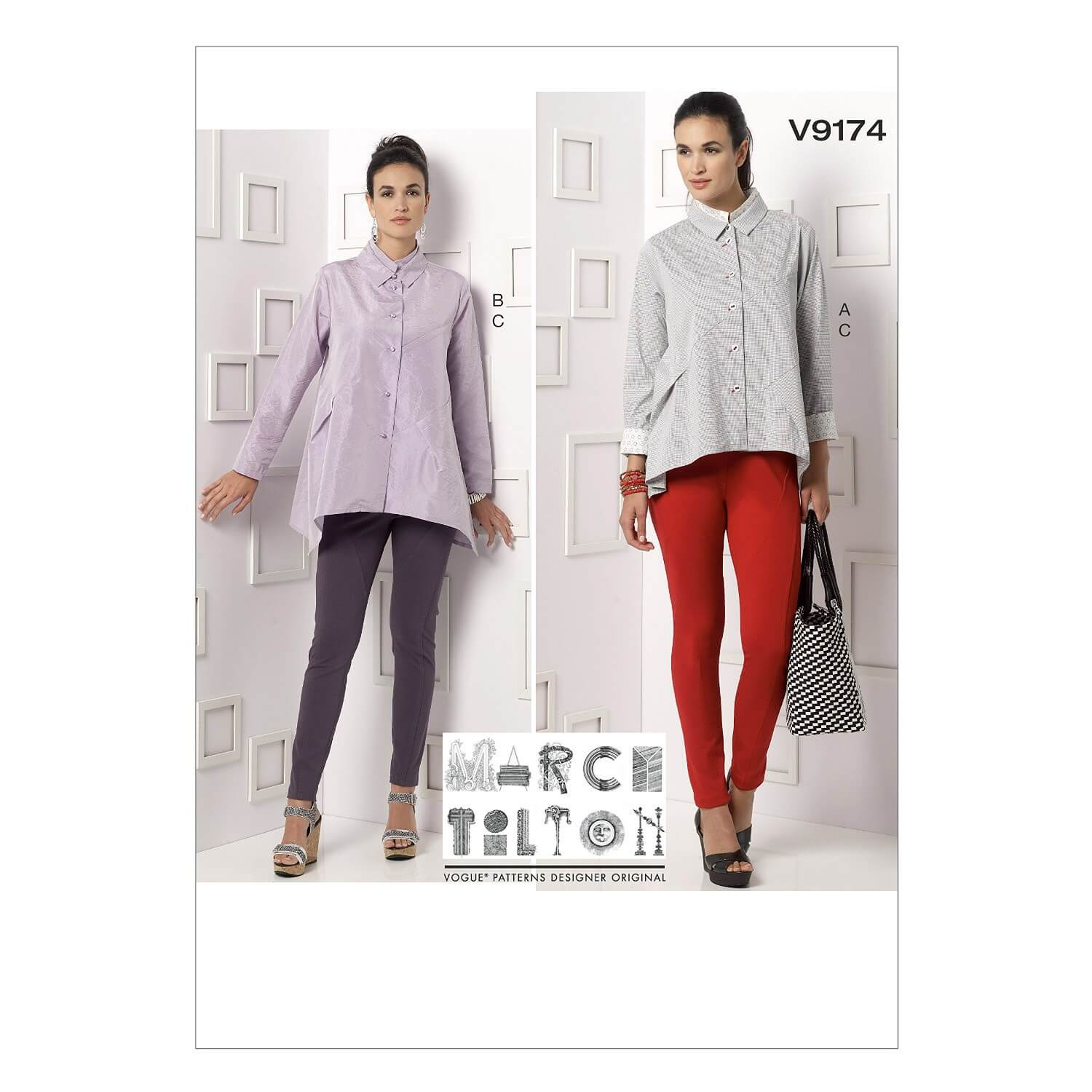 Vogue Sewing Pattern V9174 Women's Double Collared Shirts & Seem Detail Pants