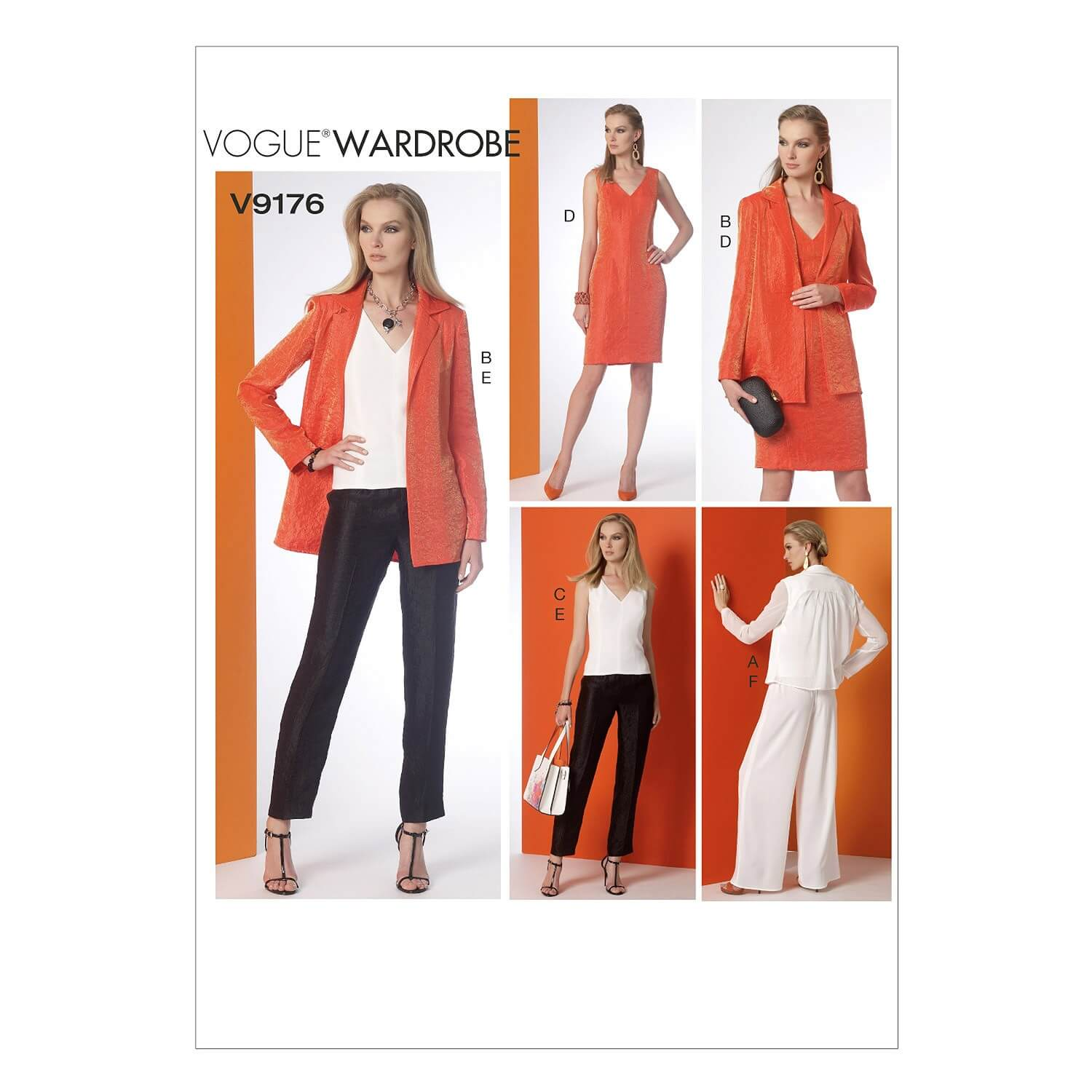 Vogue Sewing Pattern V9176 Women's Notch Collar Back Jacket Top Dress & Trousers