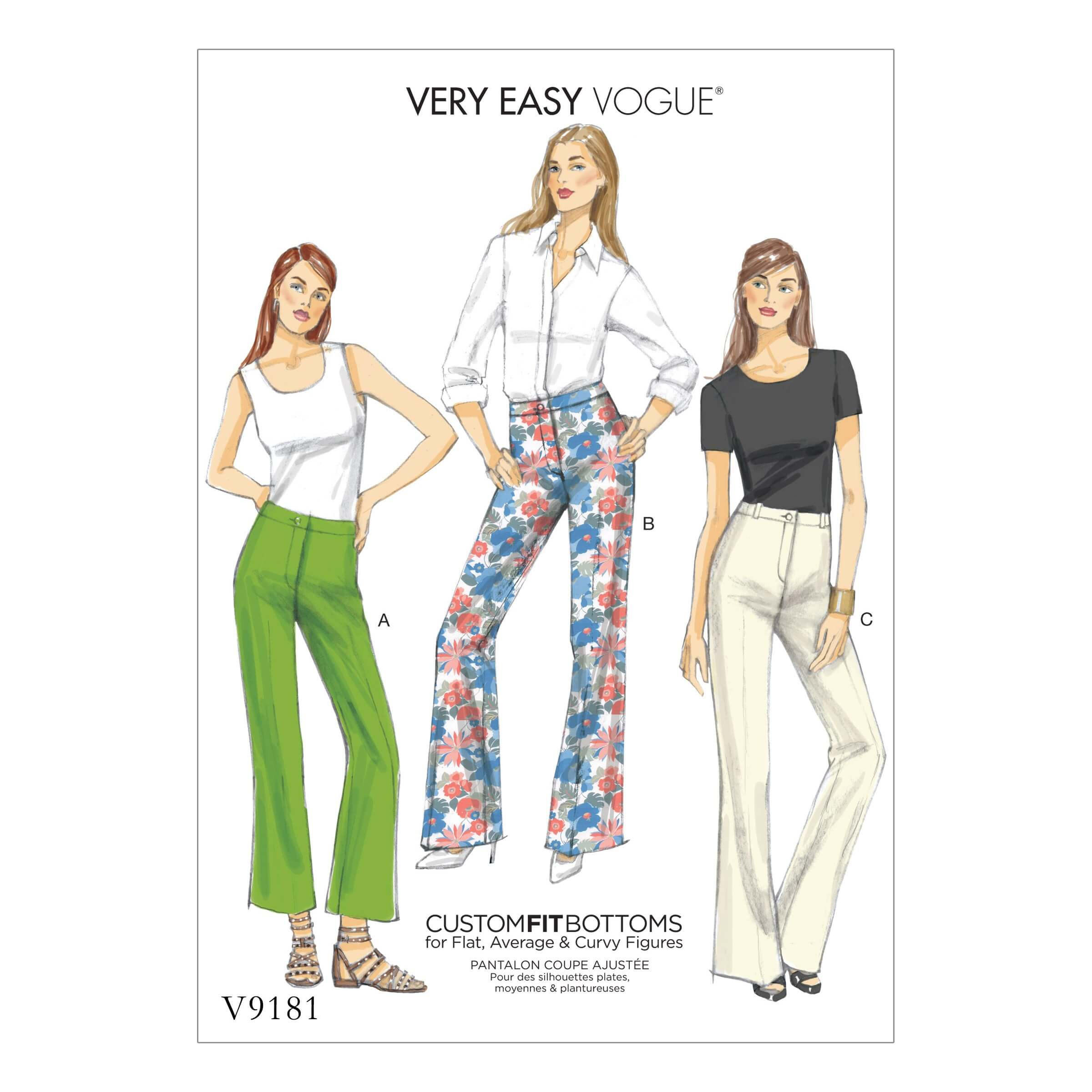 Vogue Sewing Pattern V9181 Women's Missus' Custom Fit Boot Cut Trousers