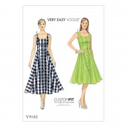 Vogue Sewing Pattern V9182 Women's Misses' Button Down Flared Skirt And Dresses