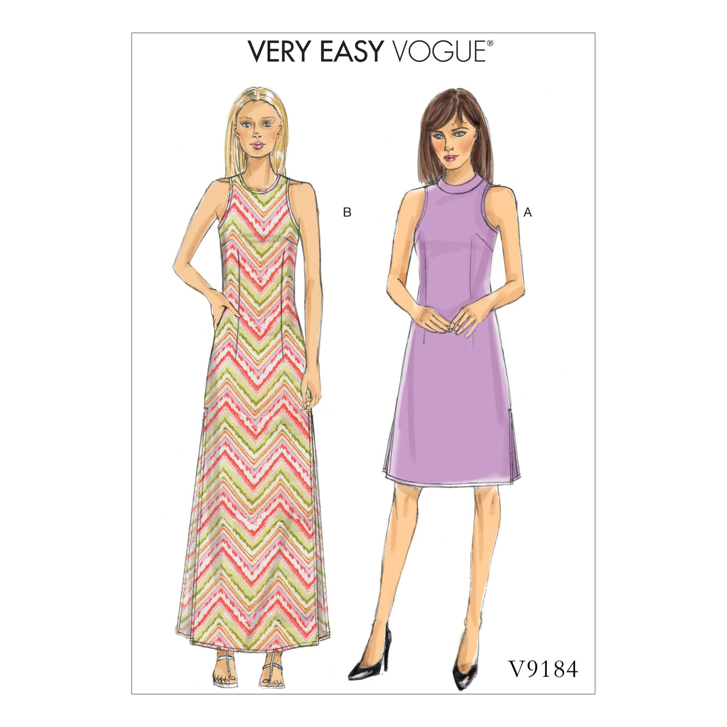 Vogue Sewing Pattern V9184 Women's Misses' Petite Side Slit A-Line Dresses