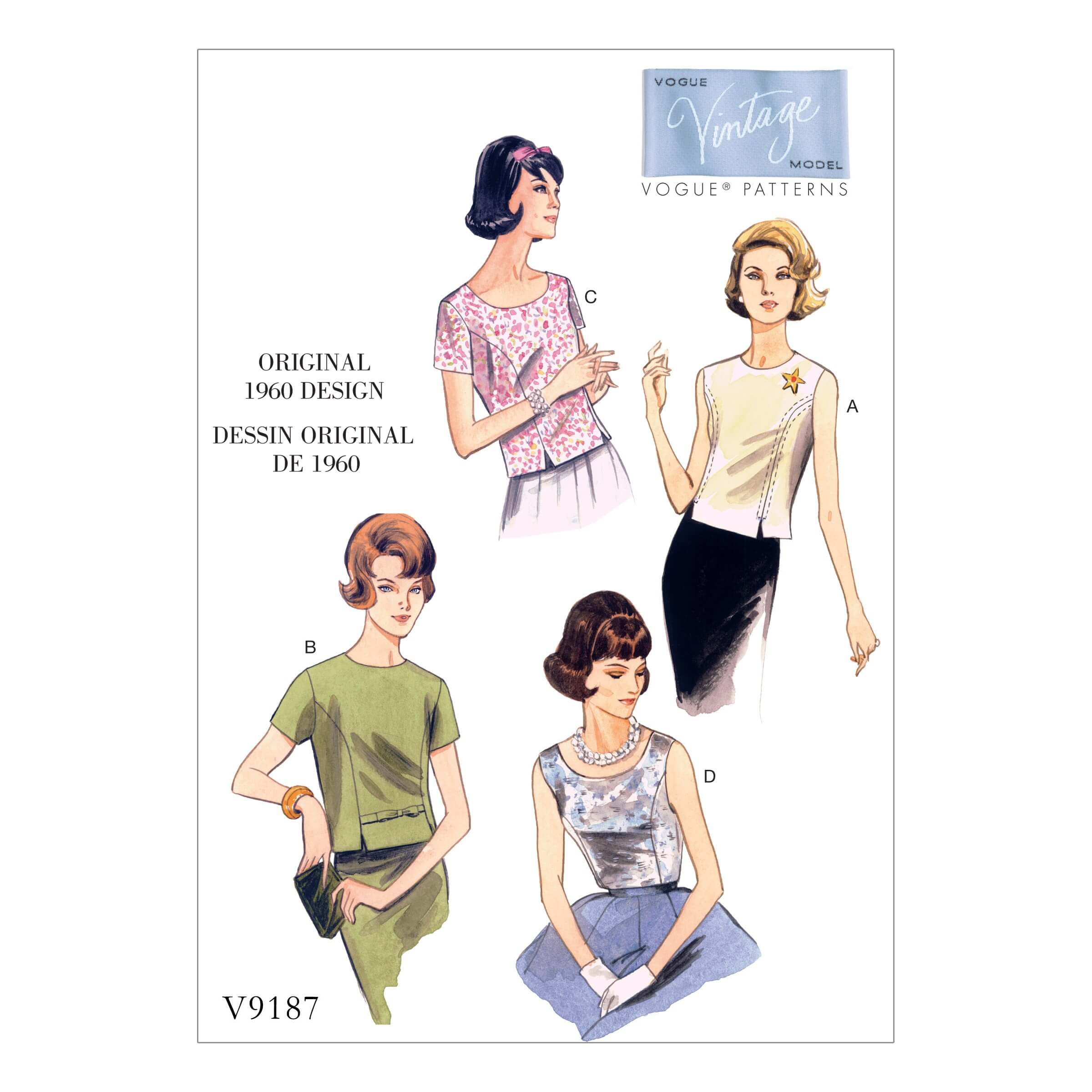 Vogue Sewing Pattern V9187 Women's Vintage Jewel Or Scoop Neck Tops