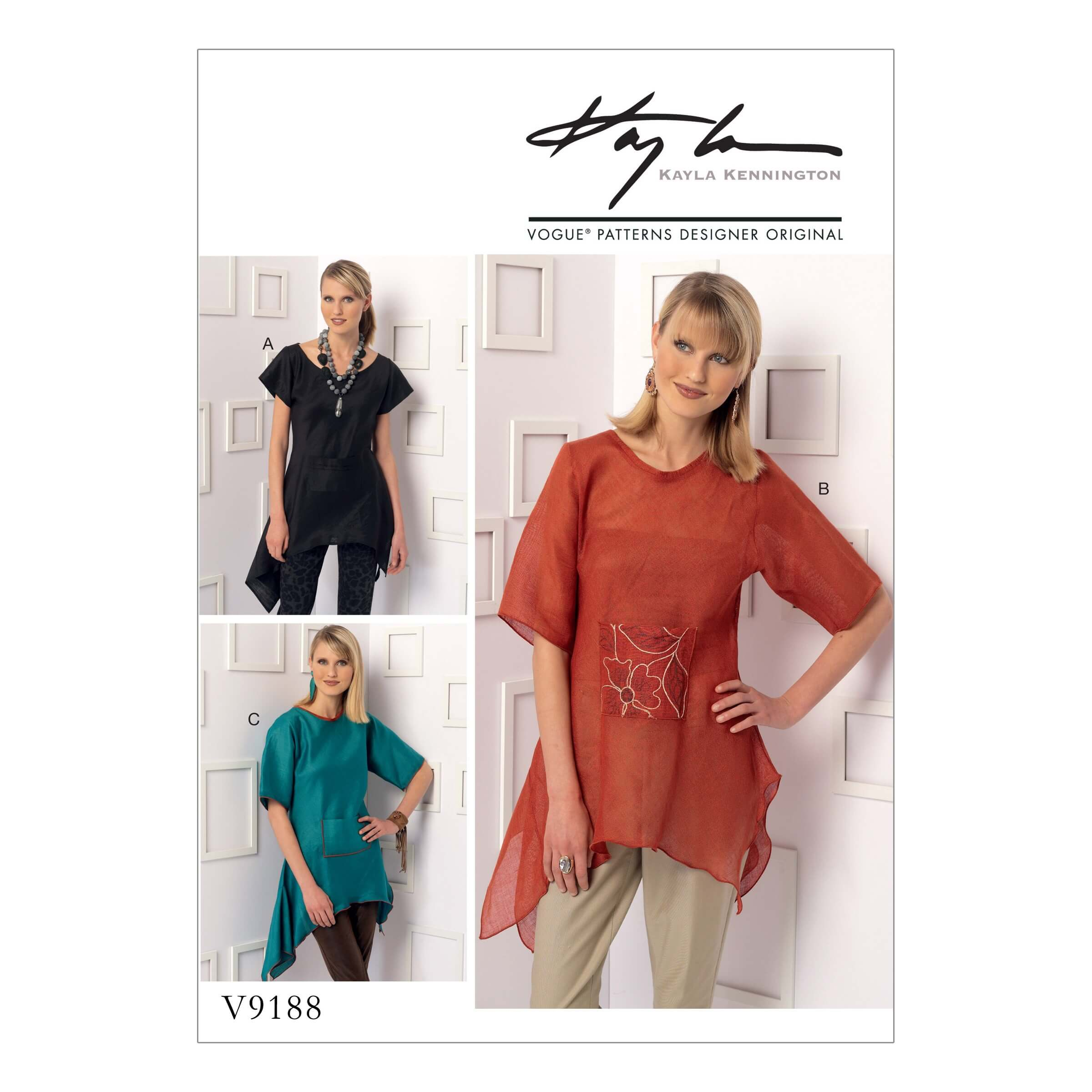 Vogue Sewing Pattern V9188 Women's Handkerchief-Hem Tops With Centre Pocket