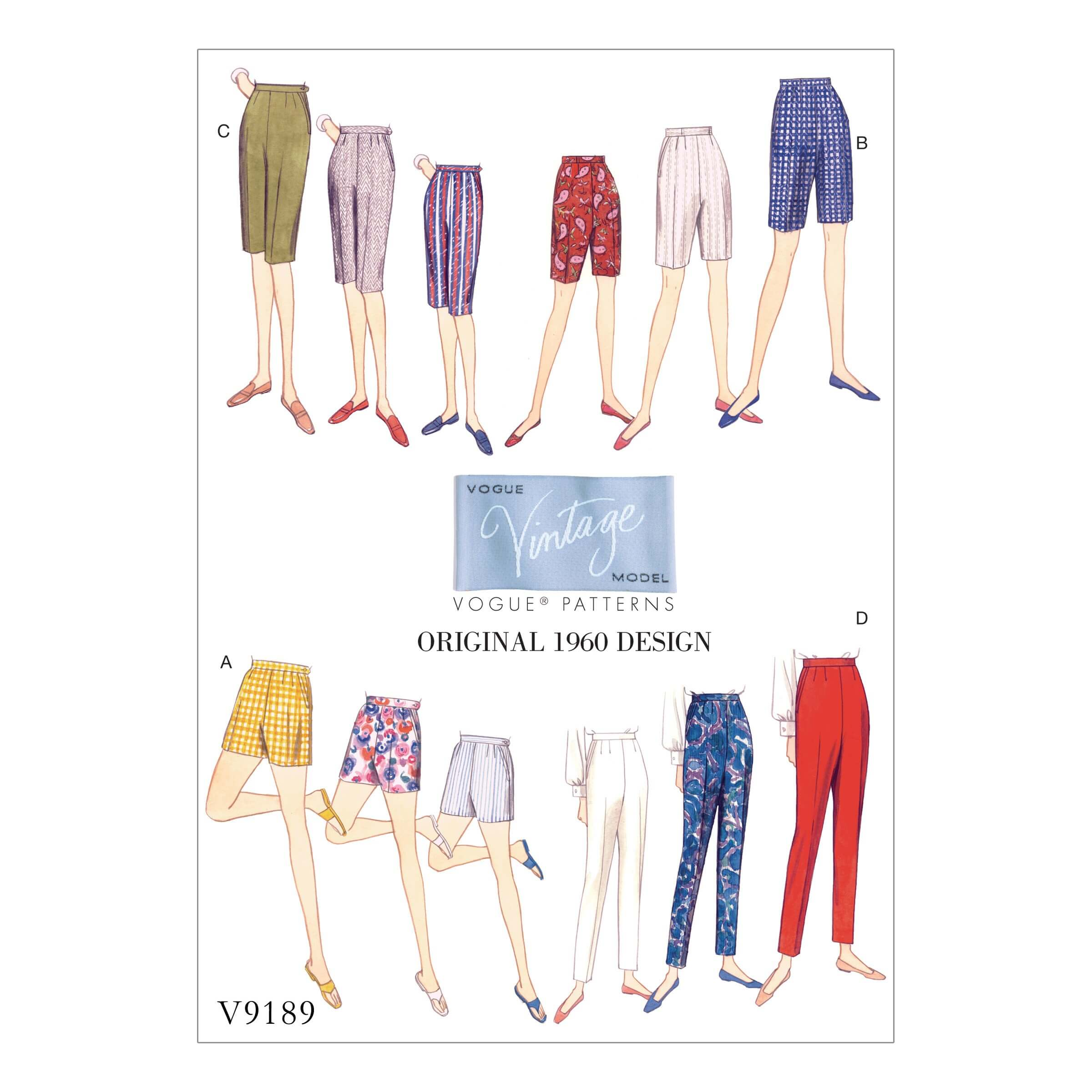 Vogue Sewing Pattern V9189 Women's Vintage Misses' Short And Tapered Trousers