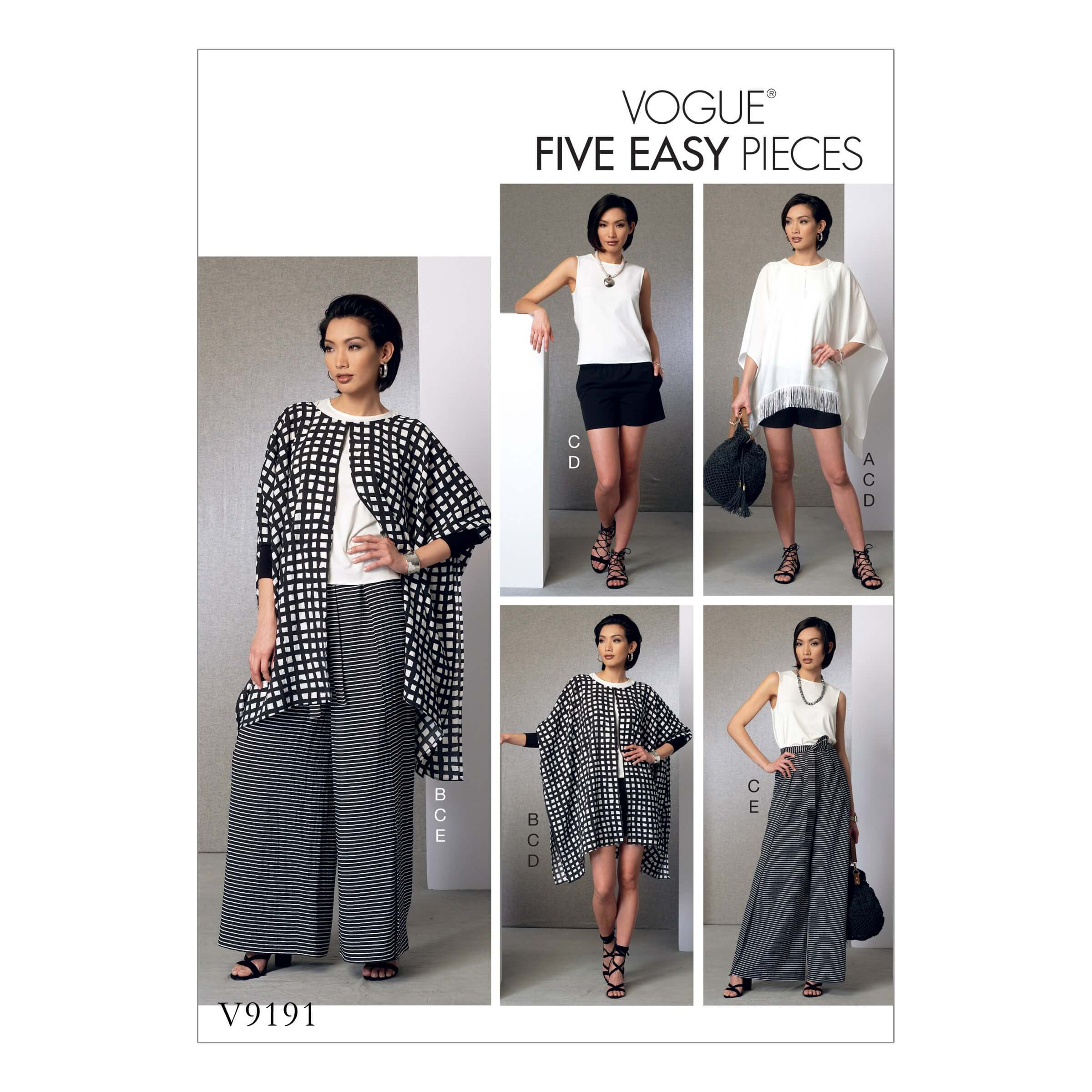Vogue Sewing Pattern V9191 Women's Ponchos Top Shorts And Wide Leg Wrap Pants