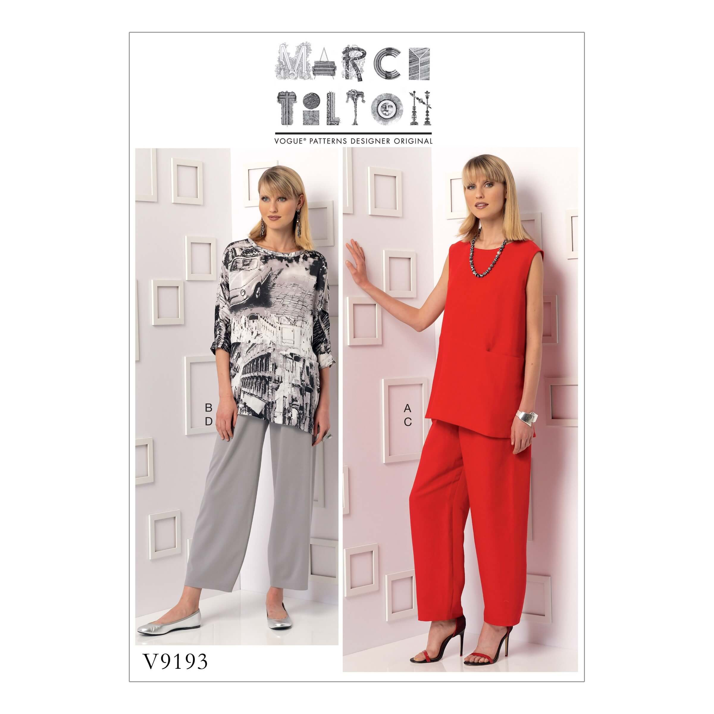 Vogue Sewing Pattern V9193 Women's Sleeveless Or Sleeve Tunics And Pants With Yoke