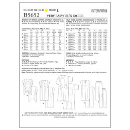 Butterick Sewing Pattern 5652 Misses' Top Dress Caftan Jumpsuit & Trousers