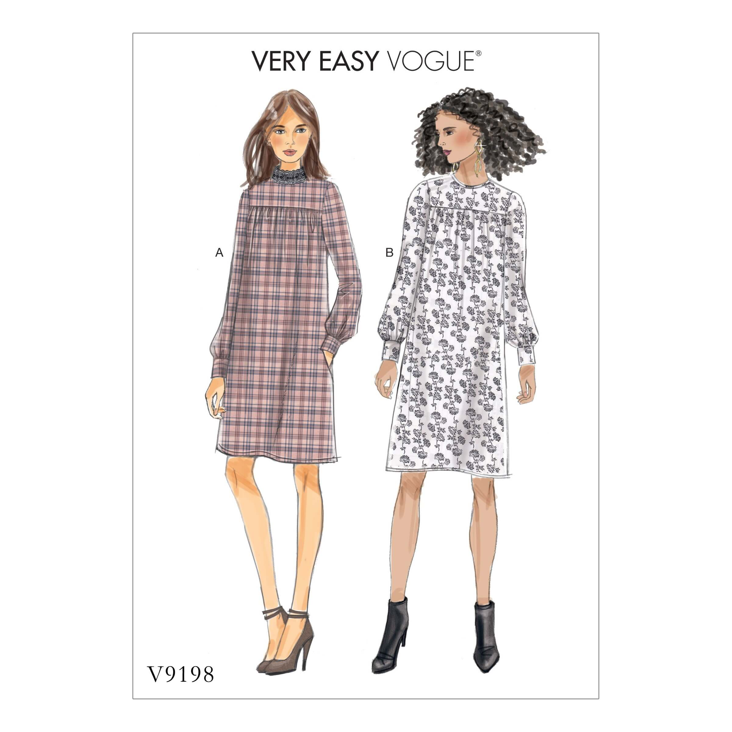 Vogue Sewing Pattern V9198 Women's Gathered Dresses With Front Yoke