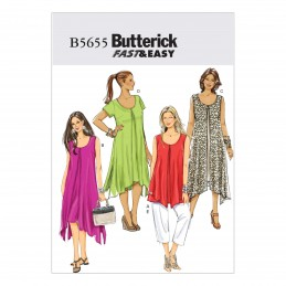 Butterick Sewing Pattern 5655 Misses Loose Fitting Top Dress & Trousers RR 18-24