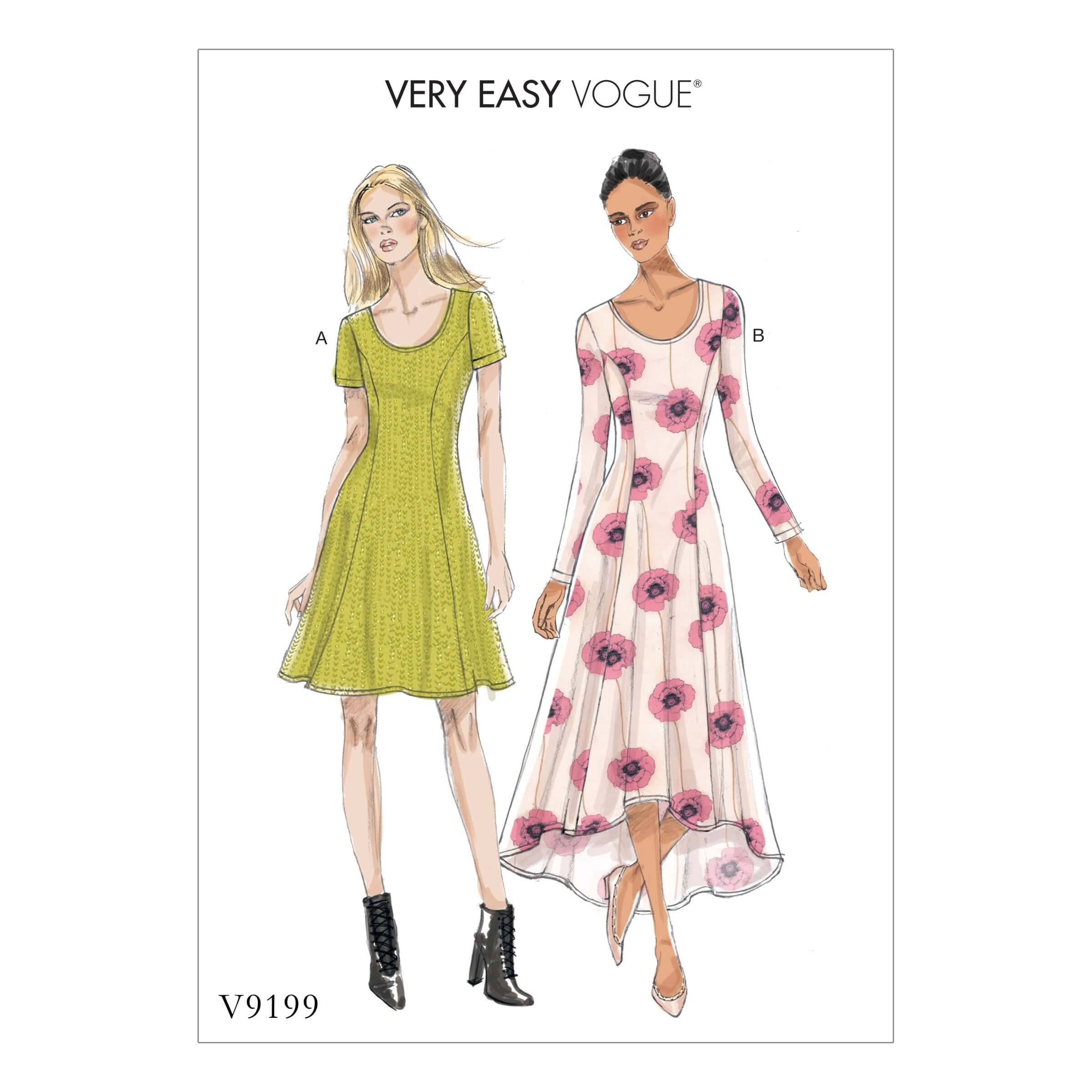 Vogue Sewing Pattern V9199 Women's Misses' Knit Fit And Flare Dresses