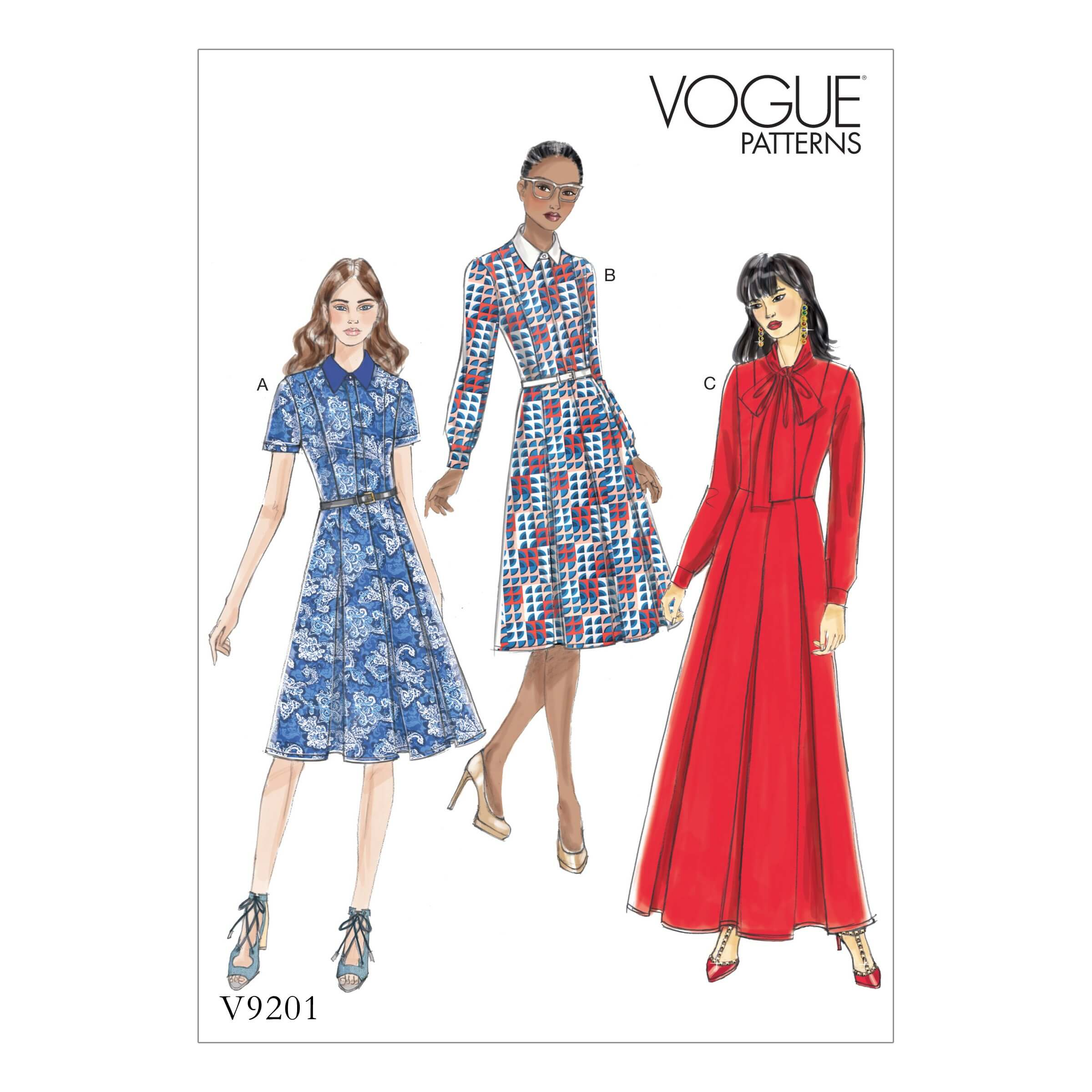 Vogue Sewing Pattern V9201 Women's Petite Inverted-Pleat Shirt Dresses