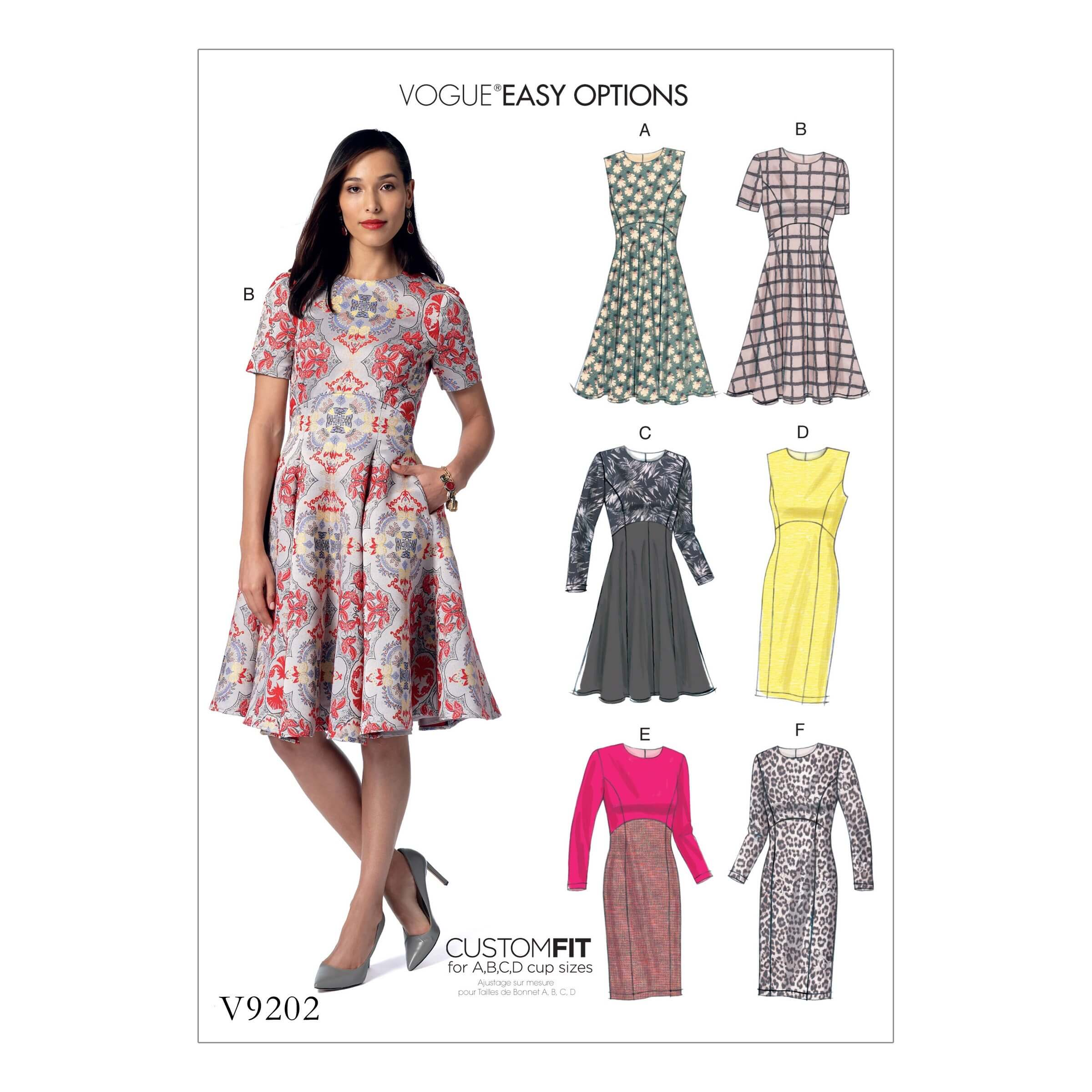 Vogue Sewing Pattern V9202 Women's Dresses With Flared Or Straight Skirt
