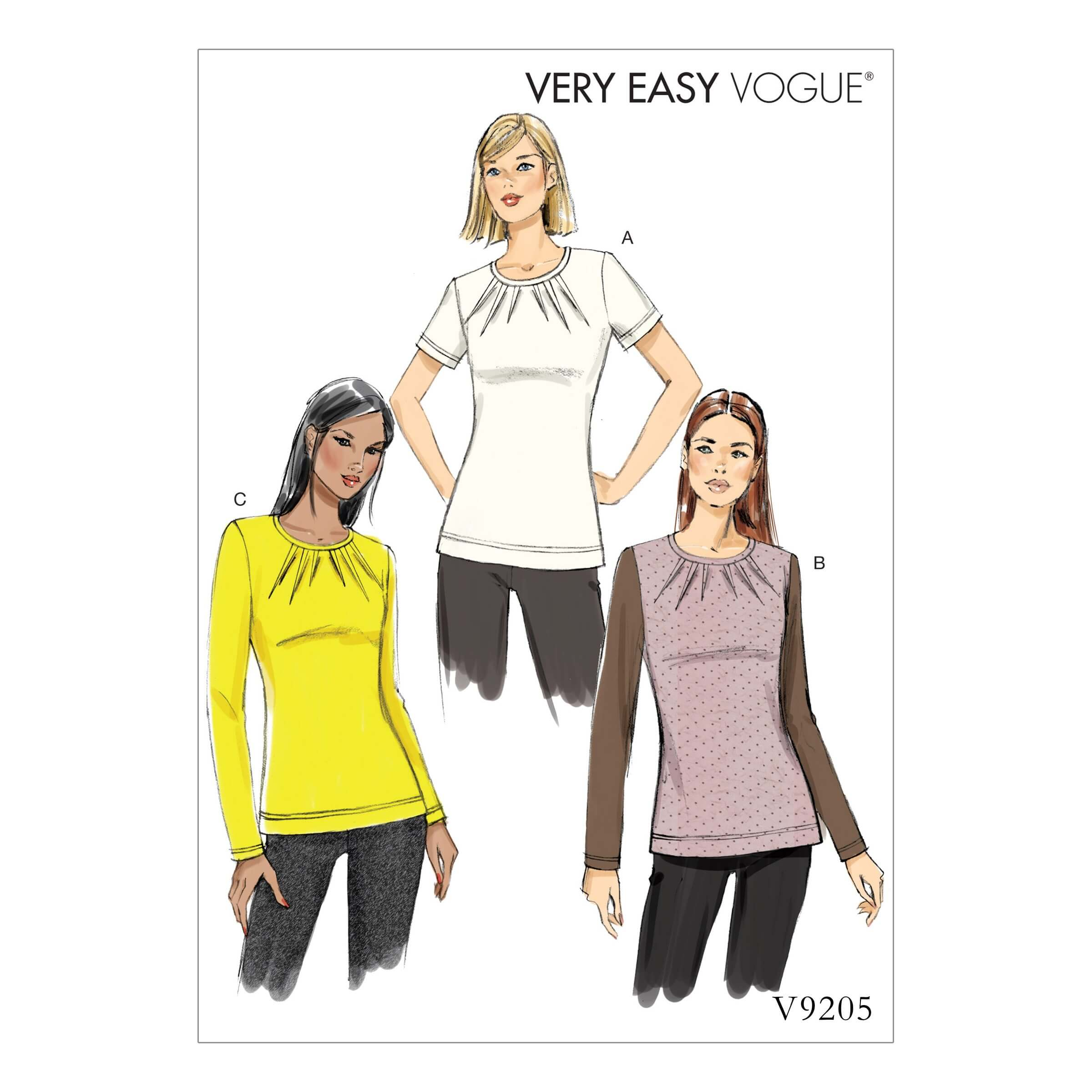 Vogue Sewing Pattern V9205 Women's Knit Tops With Inverted Neck Darts