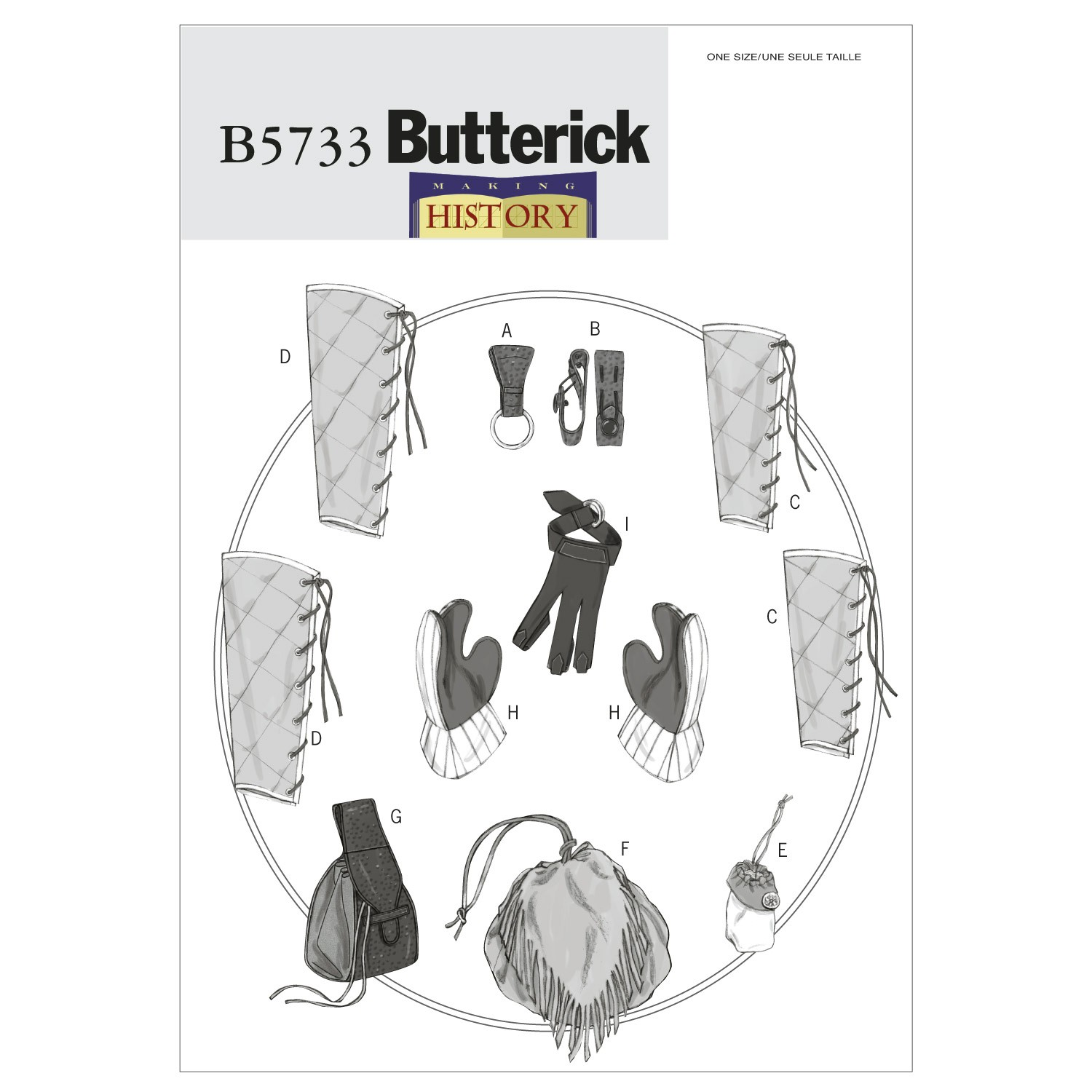 Butterick Sewing Pattern 5733 Historical Costume Bracers Greaves Gloves & Pouch
