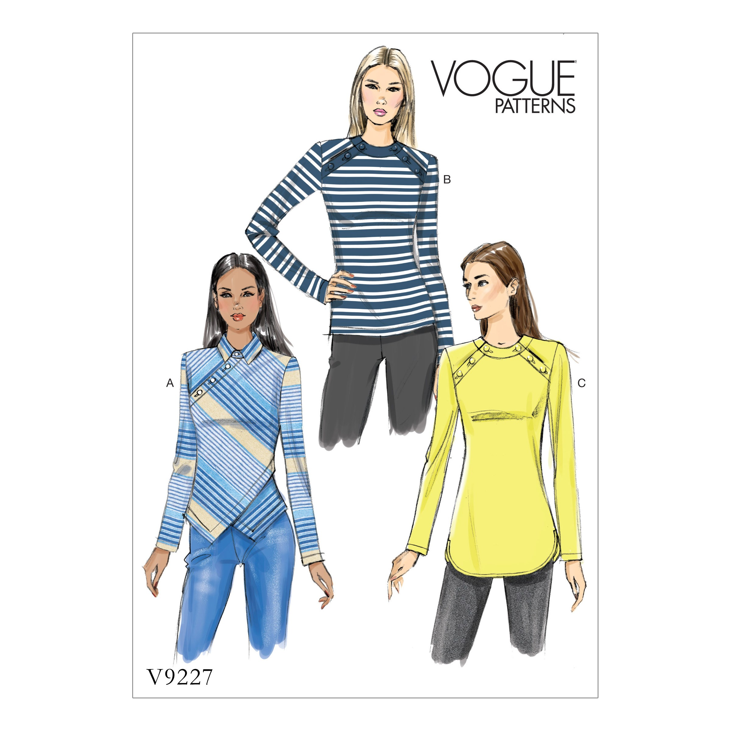 Vogue Sewing Pattern V9227 Women's Misses' Button Detailed Top
