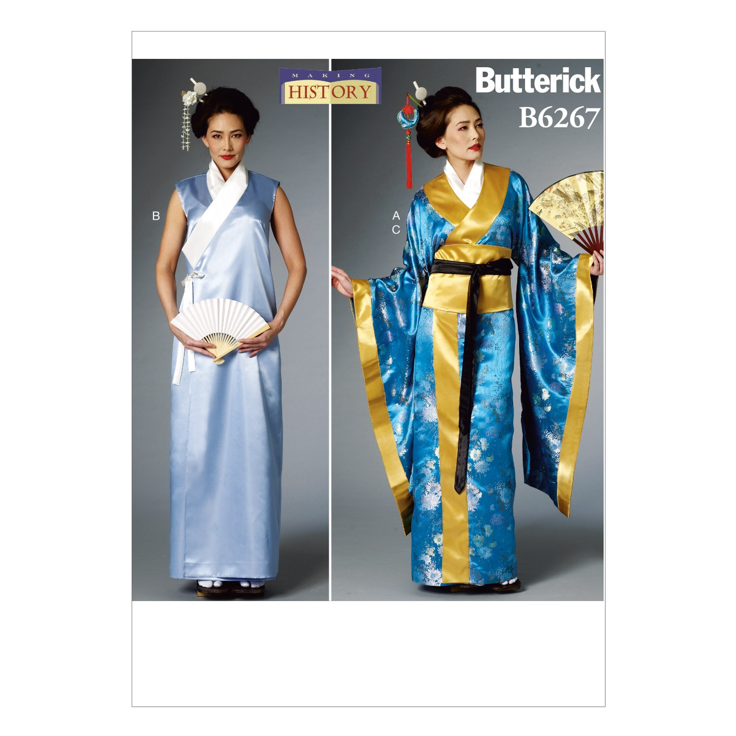 Butterick Sewing Pattern 6267 Misses' Japanese Kimono Historic Costume