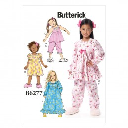 Butterick Sewing Pattern 6277 Childrens Sleepwear Top Dress Trousers