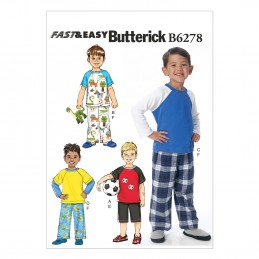 Butterick Sewing Pattern 6278 Childrens Boys Top Shorts Trousers