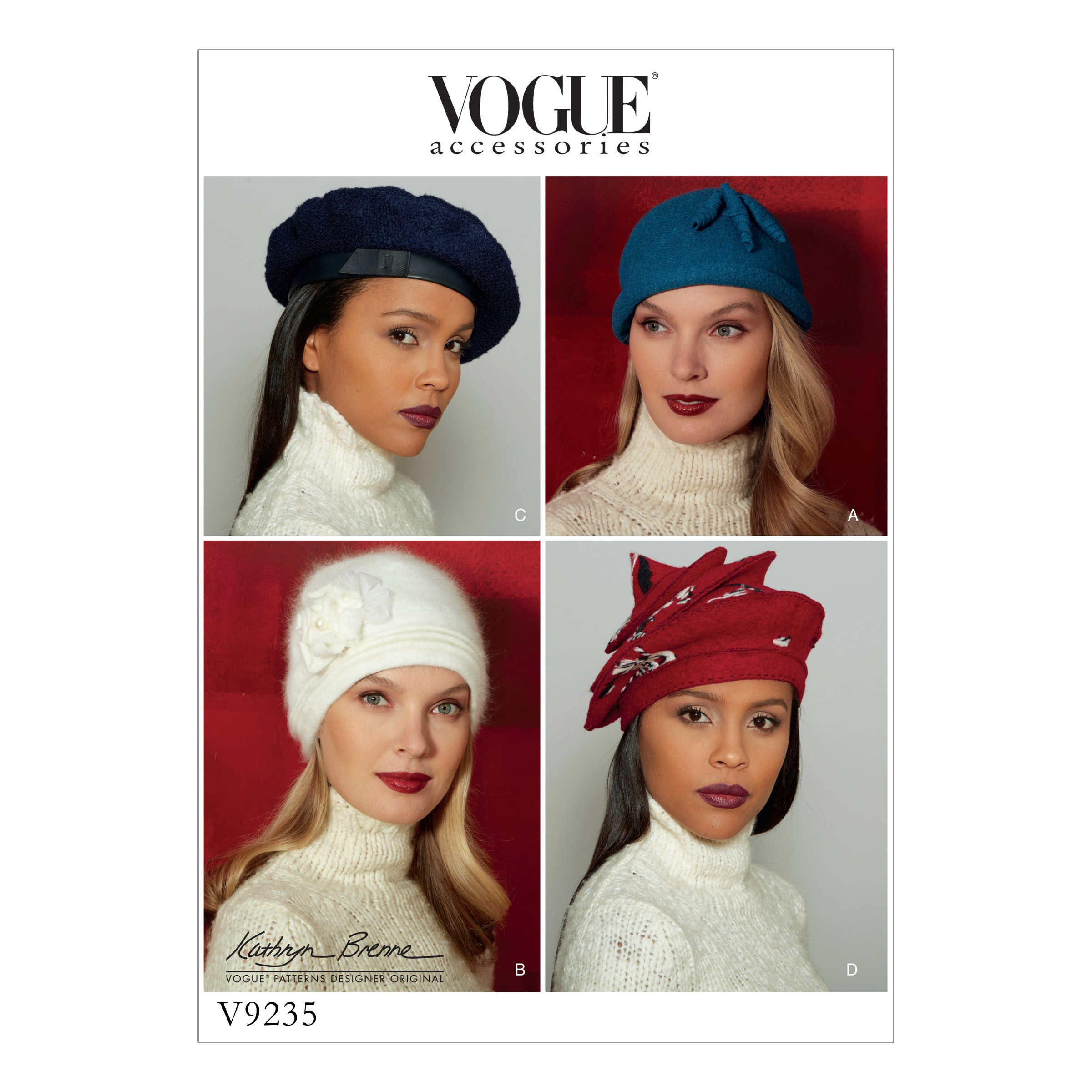 Vogue Sewing Pattern V9235 Women's Misses' Hats In Four Styles