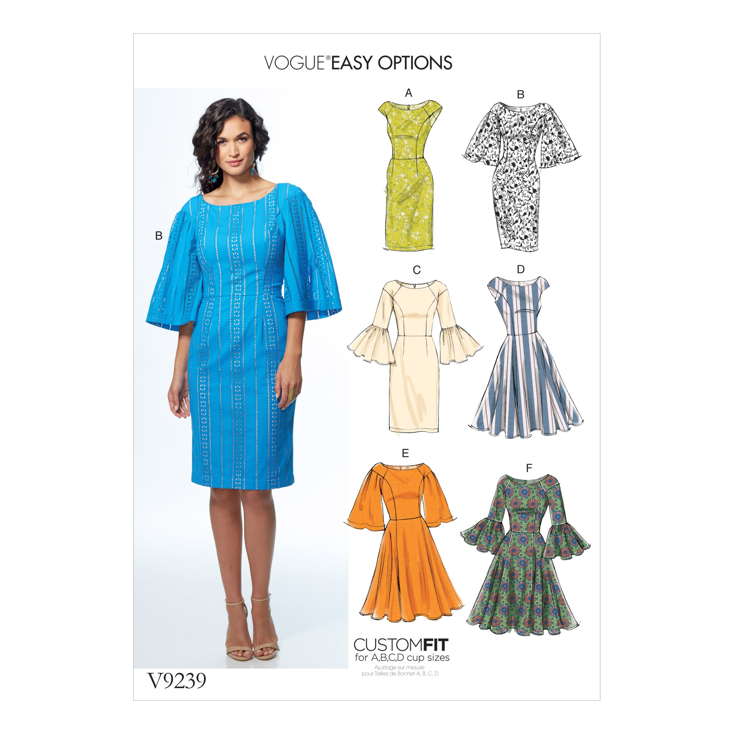 Vogue Sewing Pattern V9239 Women's Princess Seam Dresses With Sleeve & Skirt