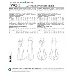 Vogue Sewing Pattern V9241 Women's Princess Seam Dresses With Shaped Stand Collar