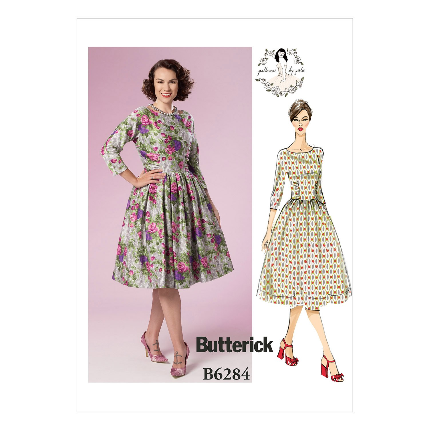 Butterick Sewing Pattern 6284 Misses' Vintage Style Dress Flaired Skirt