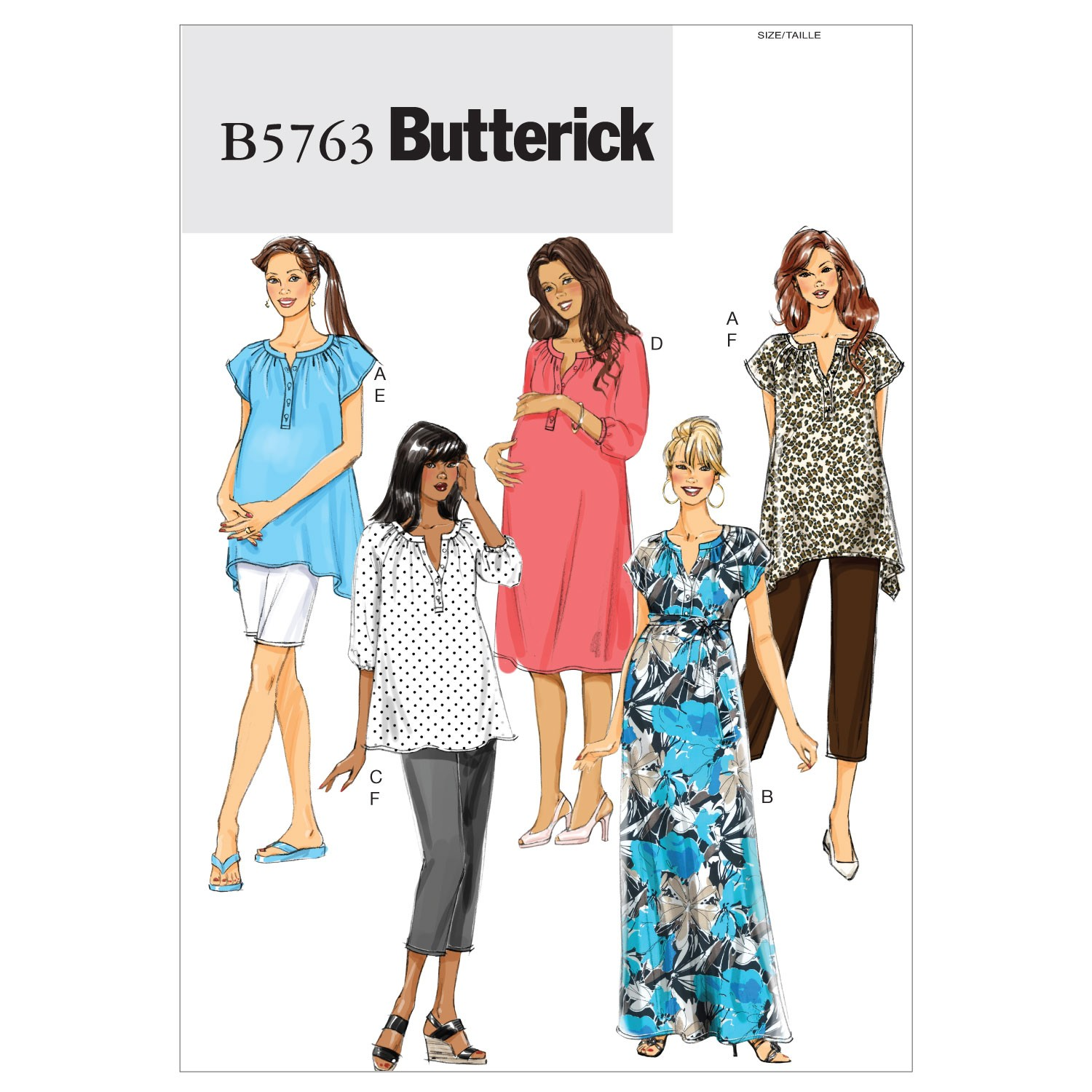 Butterick Sewing Pattern 5763 Misses' Maternity Top Dress Shorts & Trousers