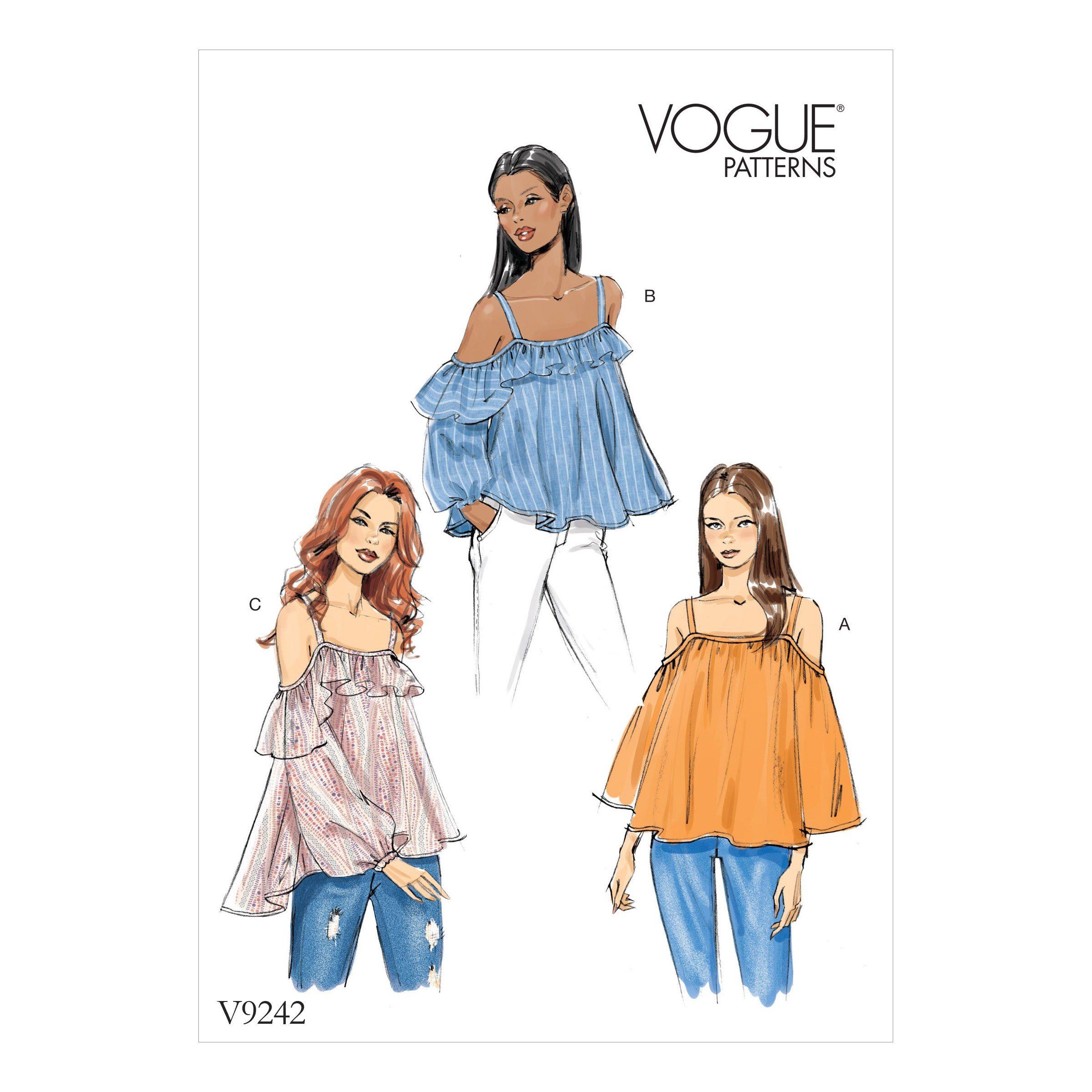 Vogue Sewing Pattern V9242 Women's Off-The-Shoulder Tops With Straps