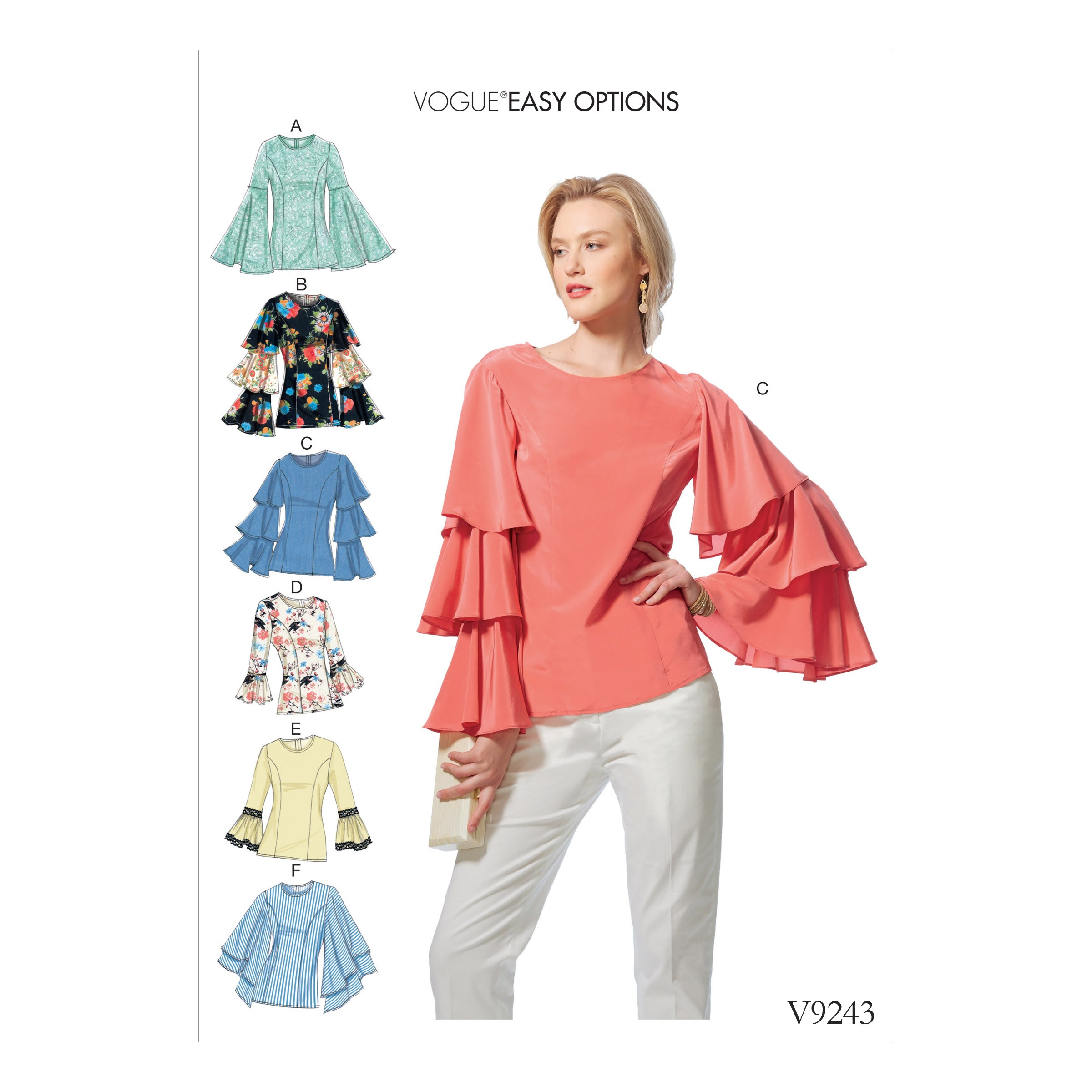Vogue Sewing Pattern V9243 Women's Princess Seam Tops With Flared Sleeves