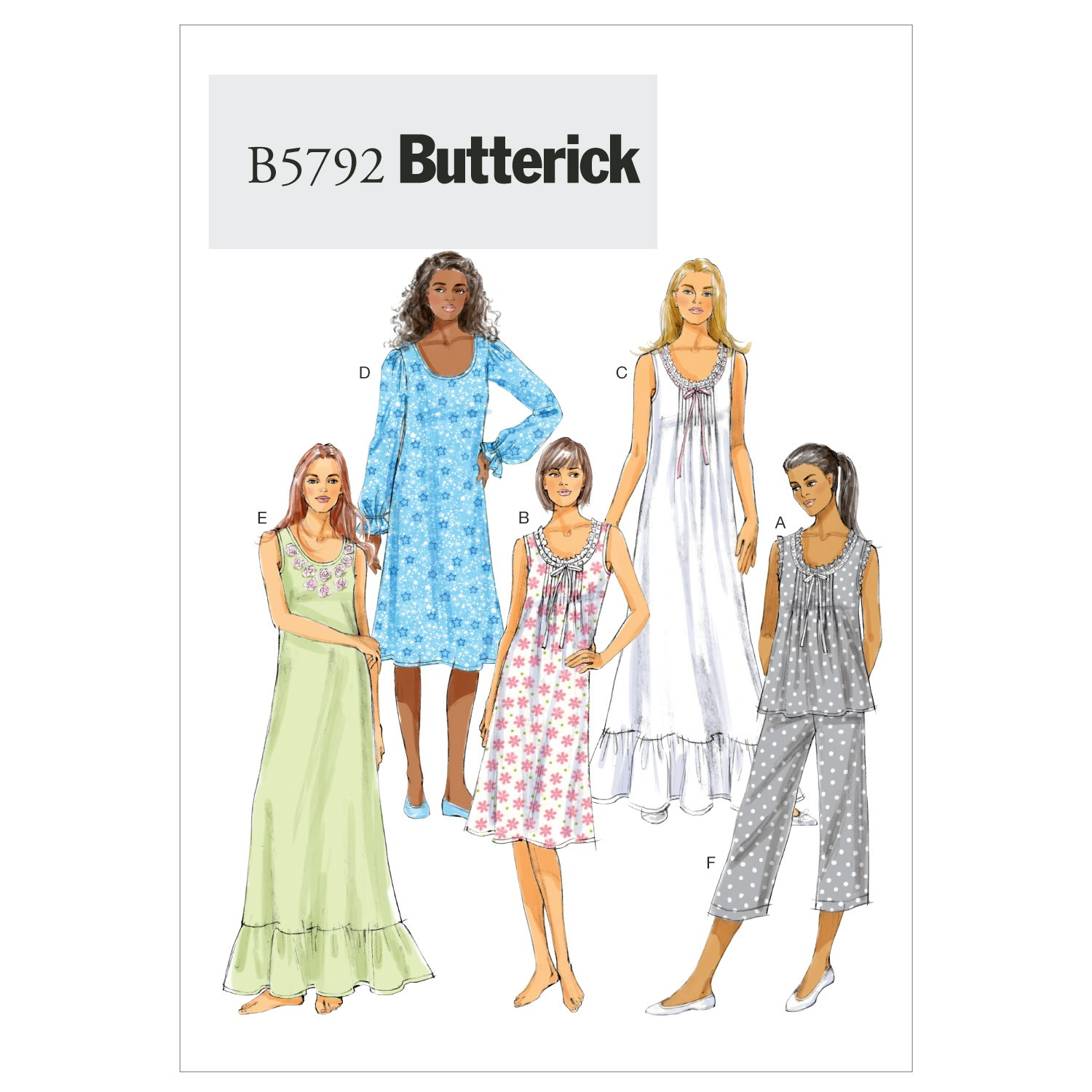 Butterick Sewing Pattern 5792 Misses' Top Nightgown & Trousers